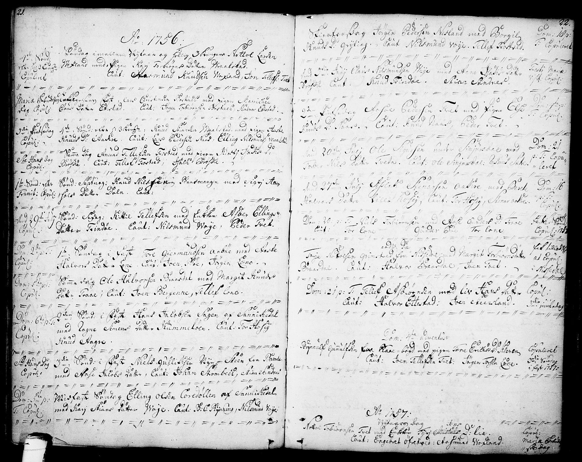 SAKO, Drangedal kirkebøker, F/Fa/L0001: Ministerialbok nr. 1, 1697-1767, s. 21-22