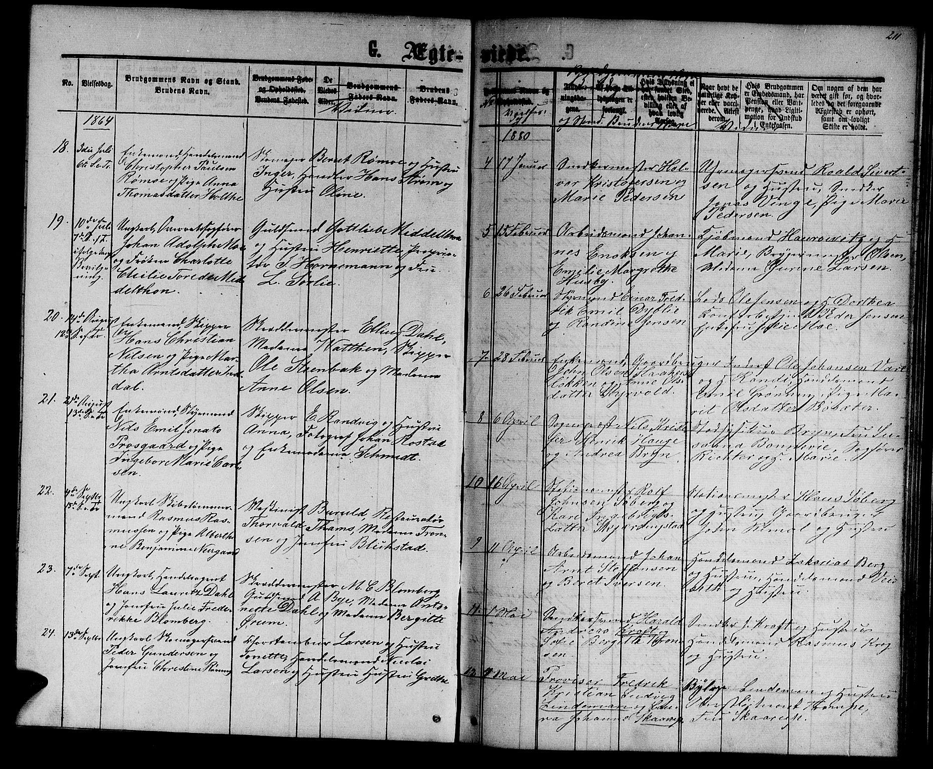 SAT, Ministerialprotokoller, klokkerbøker og fødselsregistre - Sør-Trøndelag, 601/L0087: Klokkerbok nr. 601C05, 1864-1881, s. 211