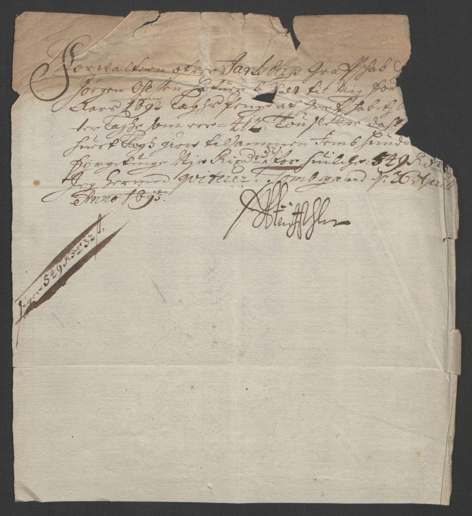 RA, Rentekammeret inntil 1814, Reviderte regnskaper, Fogderegnskap, R32/L1865: Fogderegnskap Jarlsberg grevskap, 1692, s. 418