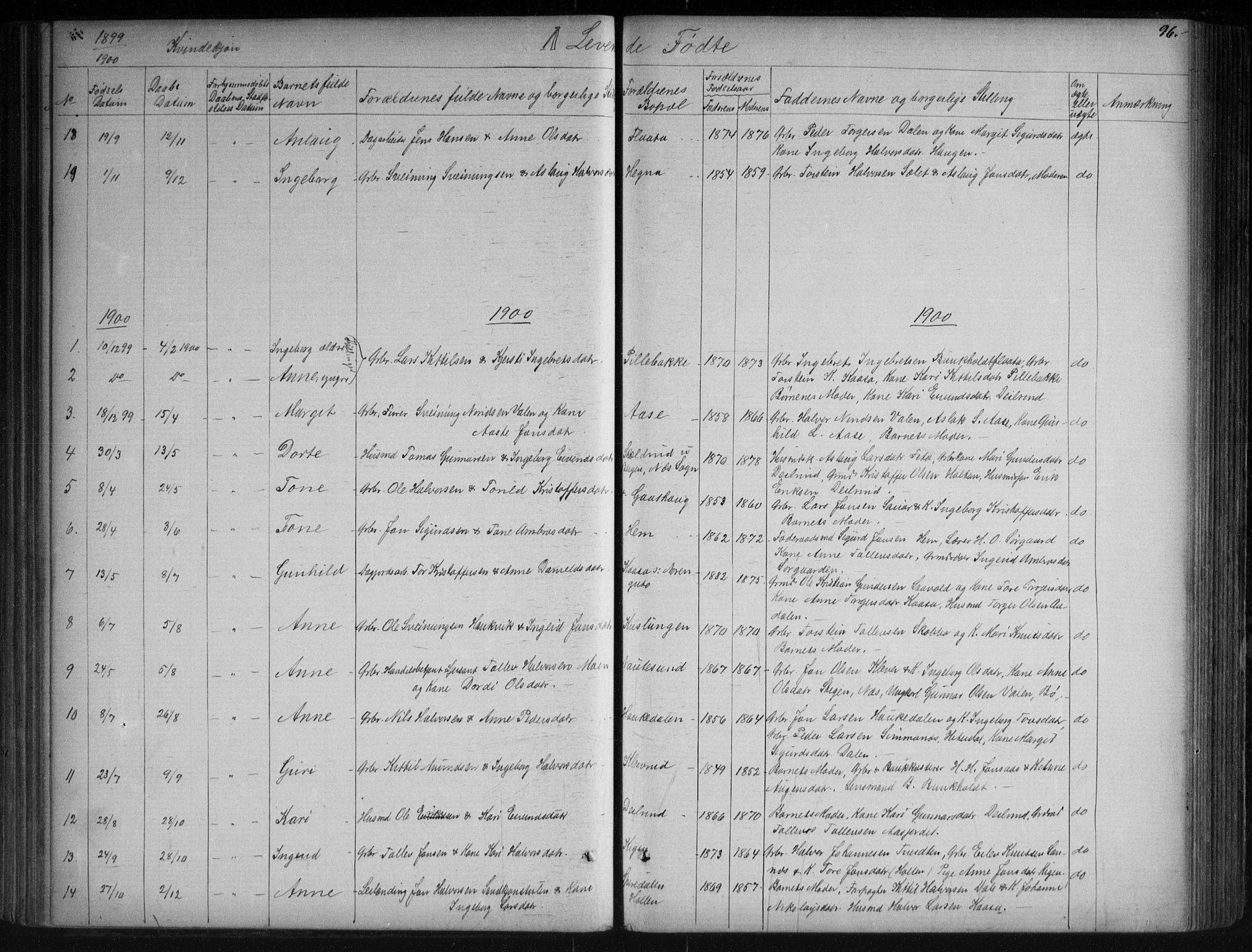 SAKO, Sauherad kirkebøker, G/Ga/L0003: Klokkerbok nr. I 3, 1866-1905, s. 96
