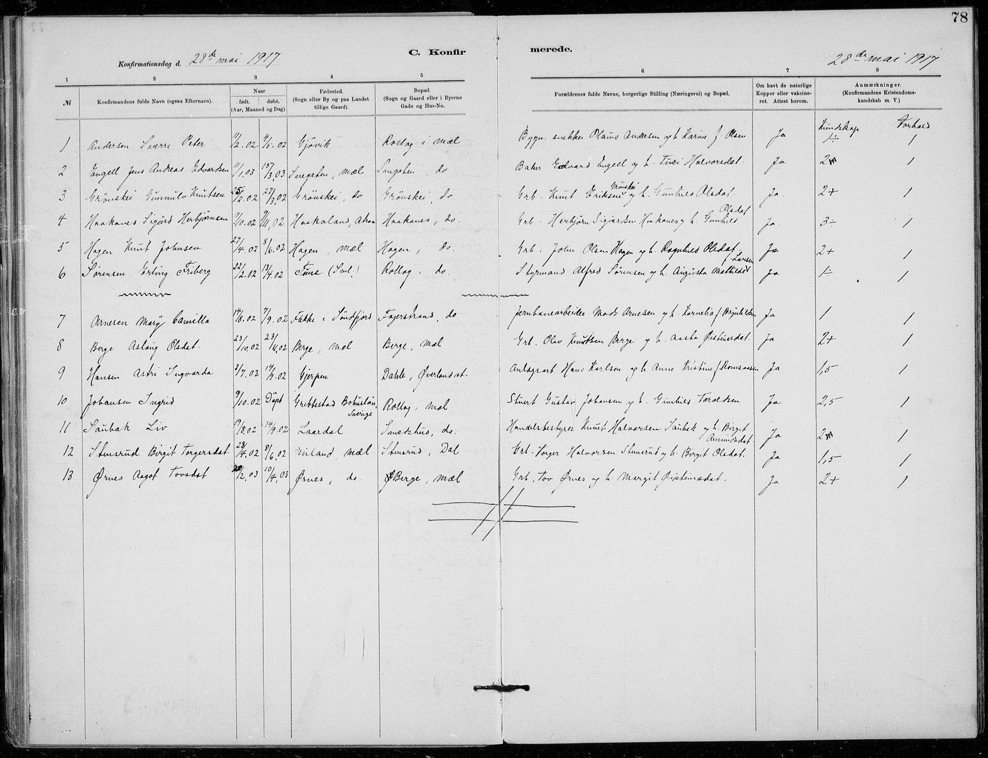SAKO, Tinn kirkebøker, F/Fb/L0002: Ministerialbok nr. II 2, 1878-1917, s. 78