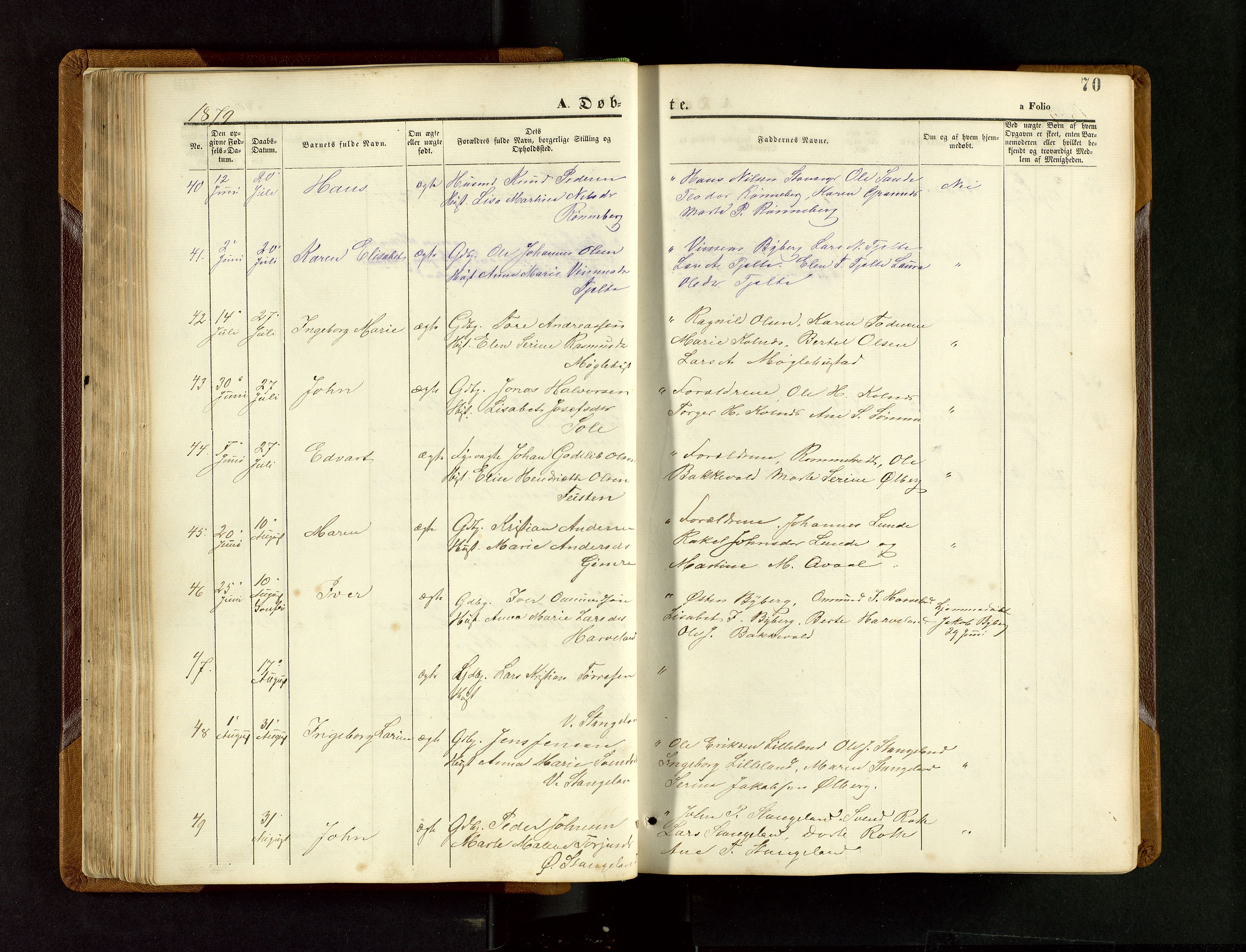 SAST, Håland sokneprestkontor, 30BB/L0003: Klokkerbok nr. B 3, 1873-1893, s. 70