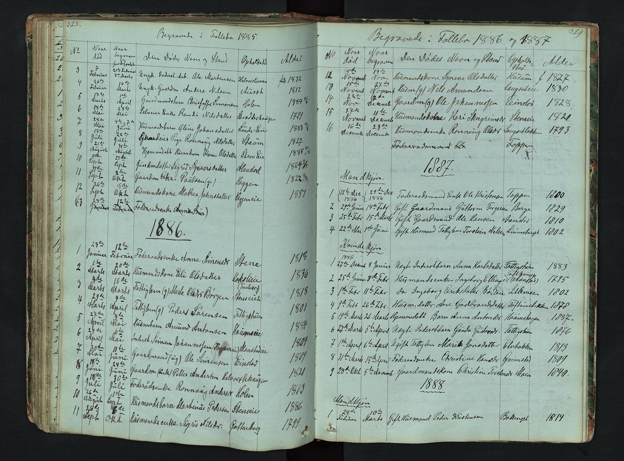 SAH, Gausdal prestekontor, Klokkerbok nr. 6, 1846-1893, s. 328-329