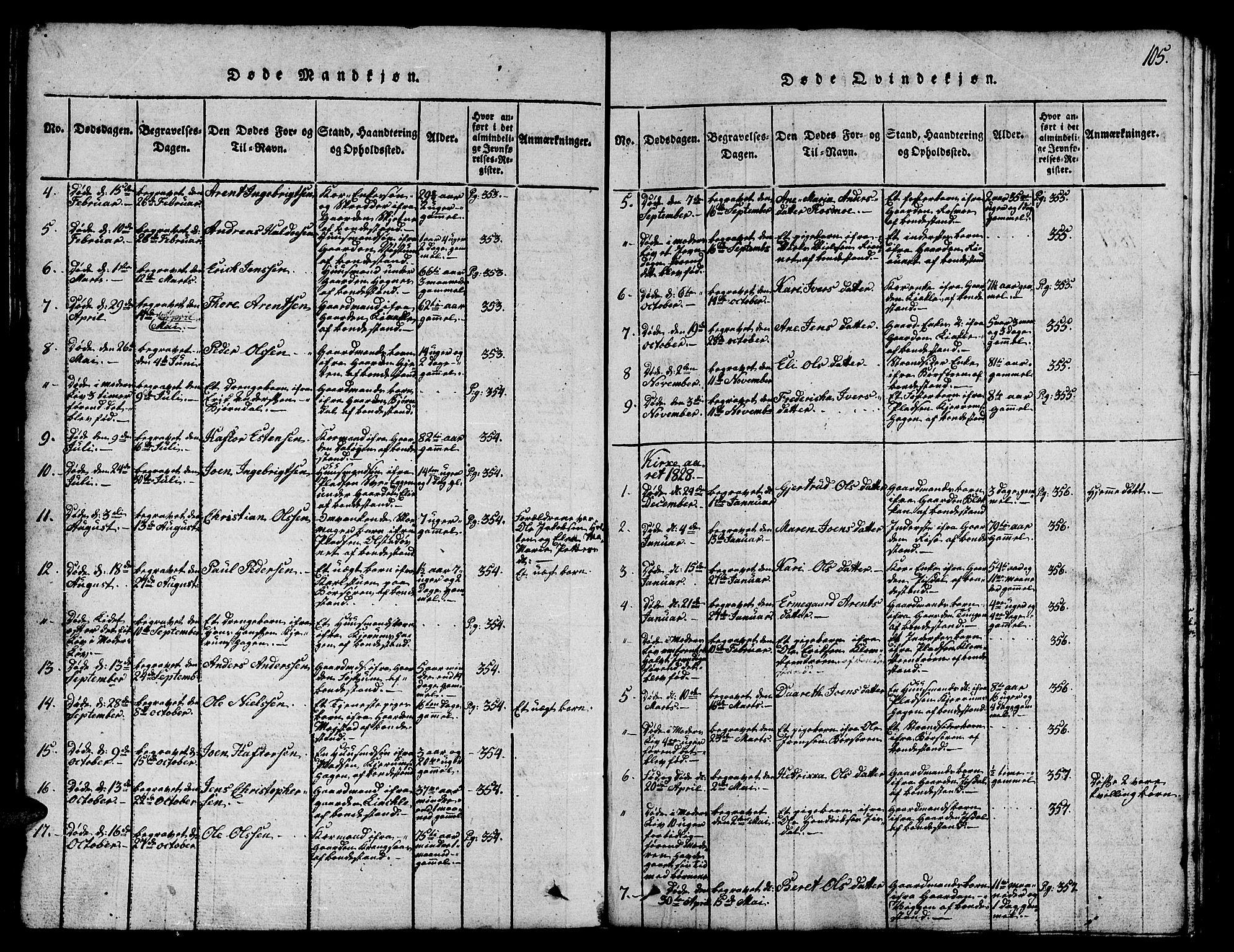 SAT, Ministerialprotokoller, klokkerbøker og fødselsregistre - Sør-Trøndelag, 665/L0776: Klokkerbok nr. 665C01, 1817-1837, s. 105