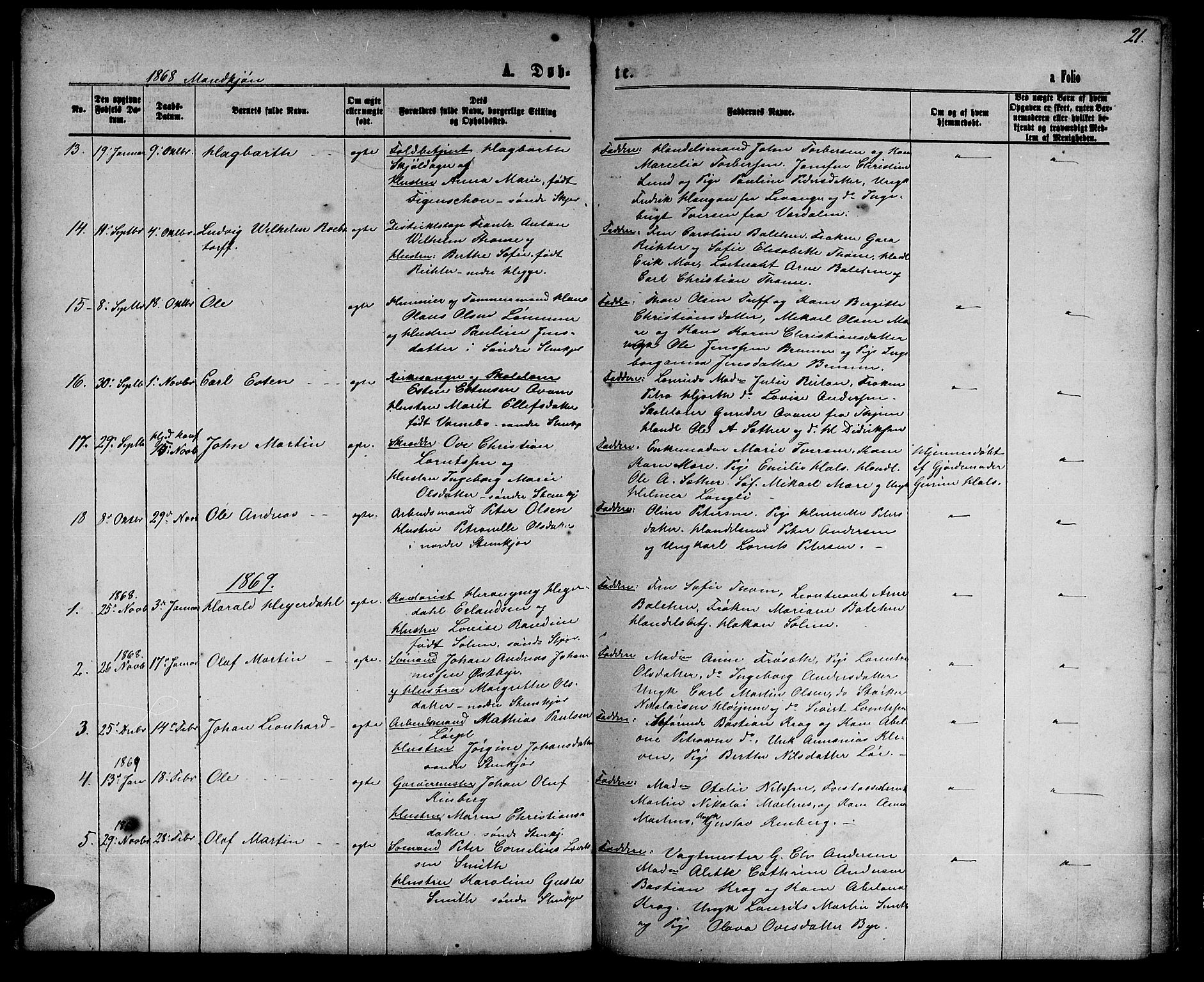 SAT, Ministerialprotokoller, klokkerbøker og fødselsregistre - Nord-Trøndelag, 739/L0373: Klokkerbok nr. 739C01, 1865-1882, s. 21