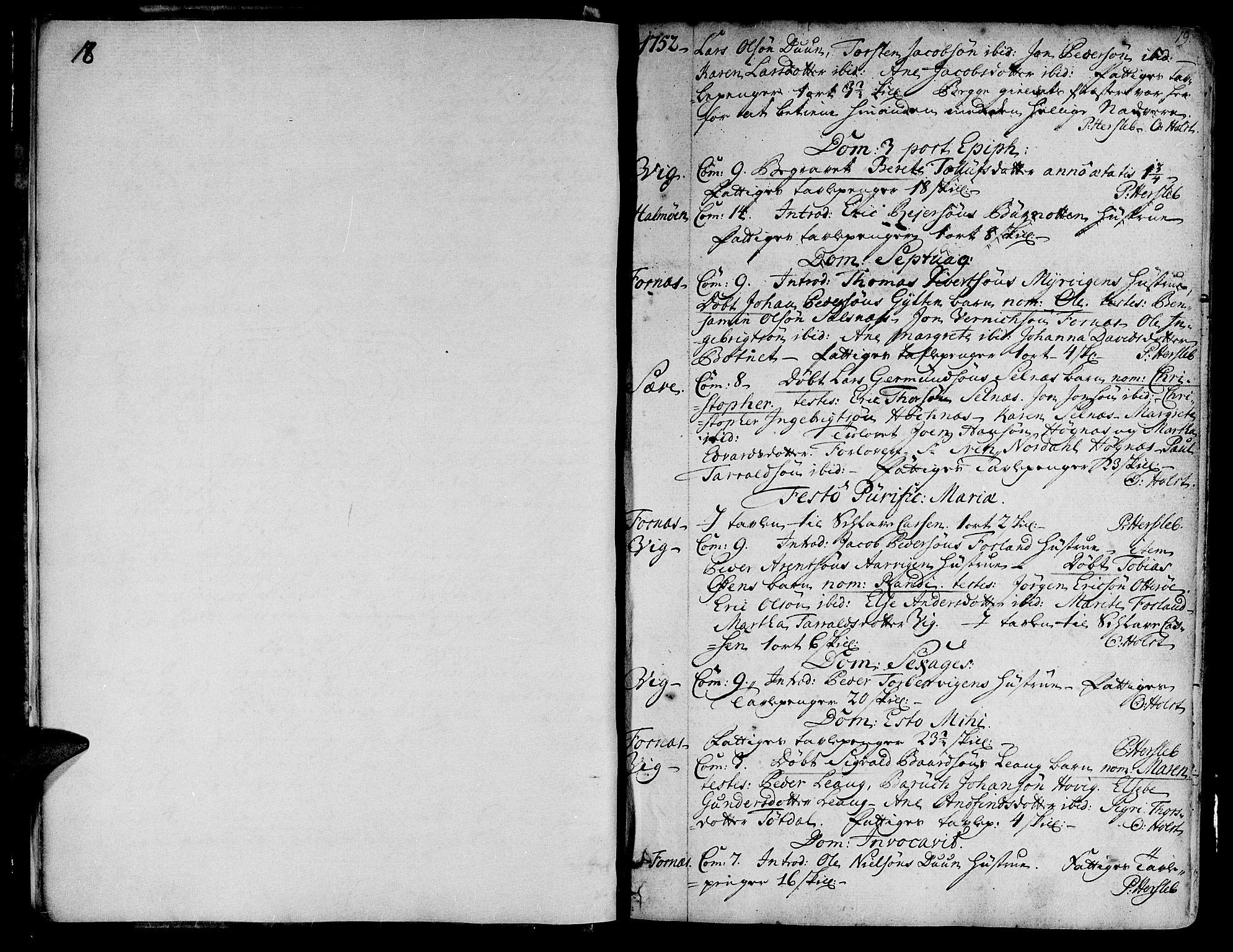 SAT, Ministerialprotokoller, klokkerbøker og fødselsregistre - Nord-Trøndelag, 773/L0607: Ministerialbok nr. 773A01, 1751-1783, s. 18-19