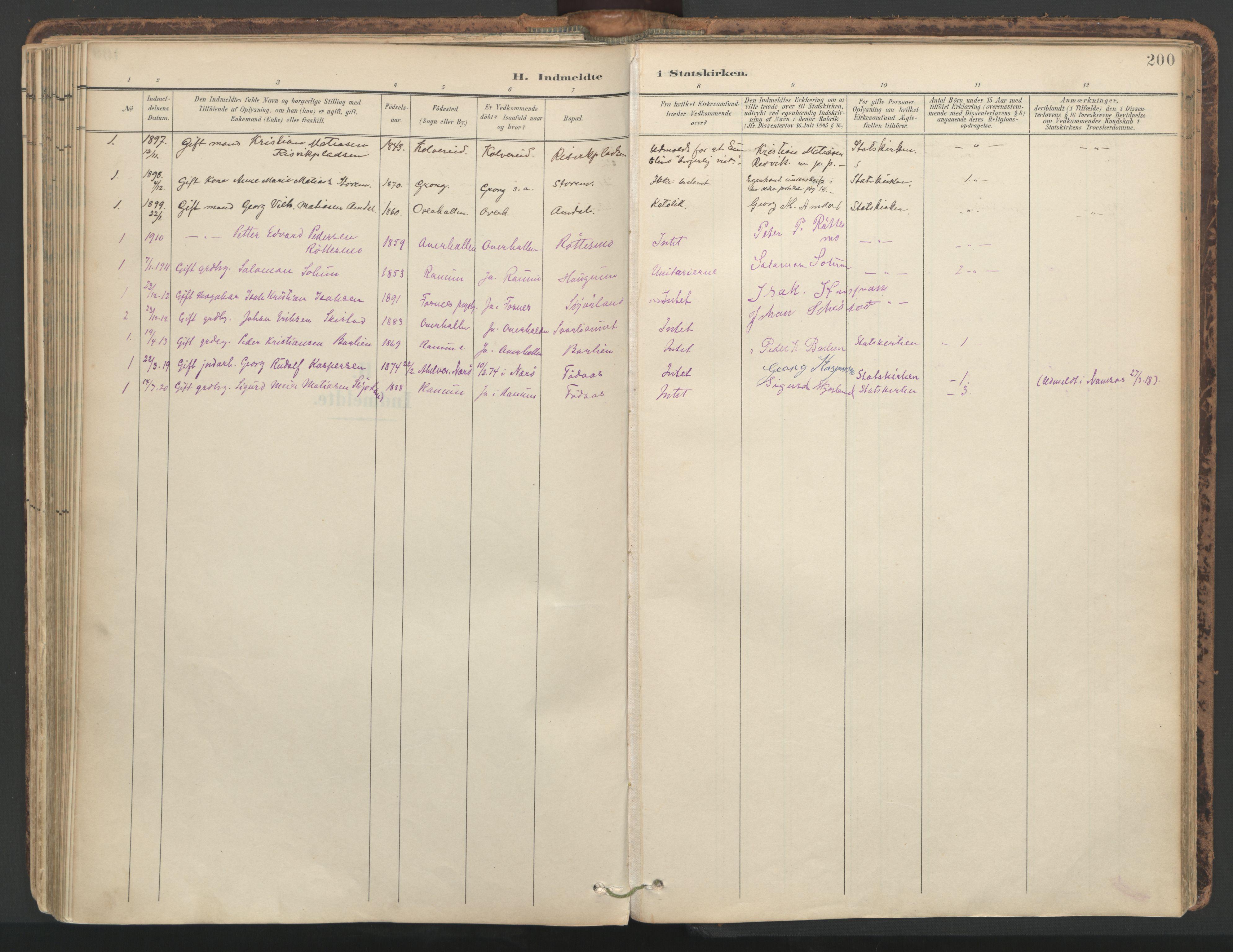 SAT, Ministerialprotokoller, klokkerbøker og fødselsregistre - Nord-Trøndelag, 764/L0556: Ministerialbok nr. 764A11, 1897-1924, s. 200