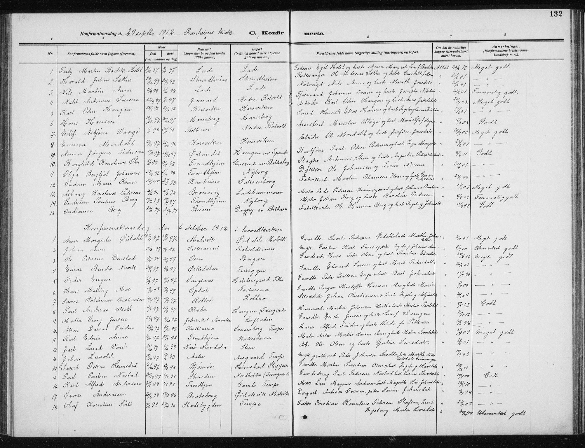 SAT, Ministerialprotokoller, klokkerbøker og fødselsregistre - Sør-Trøndelag, 606/L0314: Klokkerbok nr. 606C10, 1911-1937, s. 132