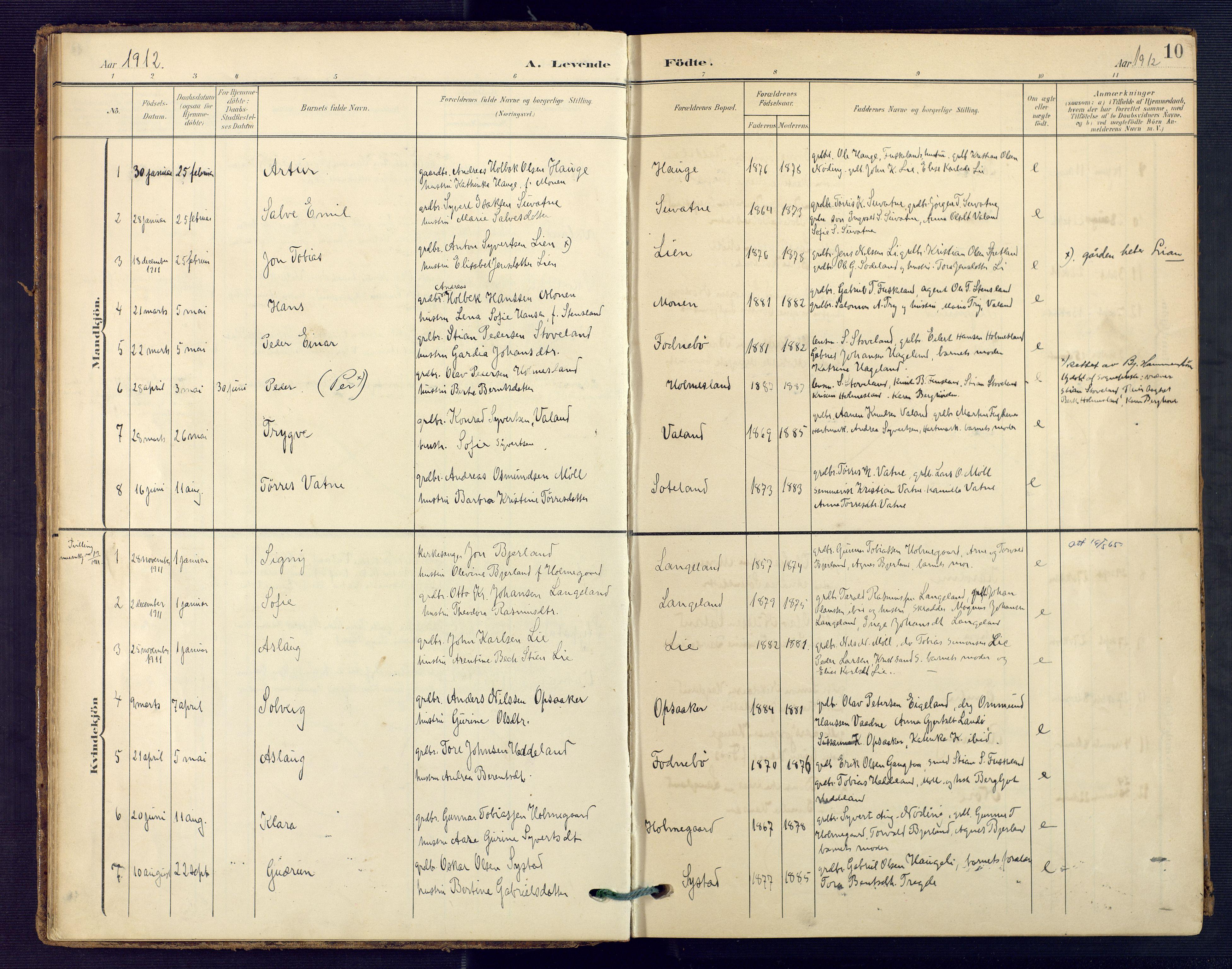 SAK, Holum sokneprestkontor, F/Fa/Faa/L0008: Ministerialbok nr. A 8, 1908-1929, s. 10
