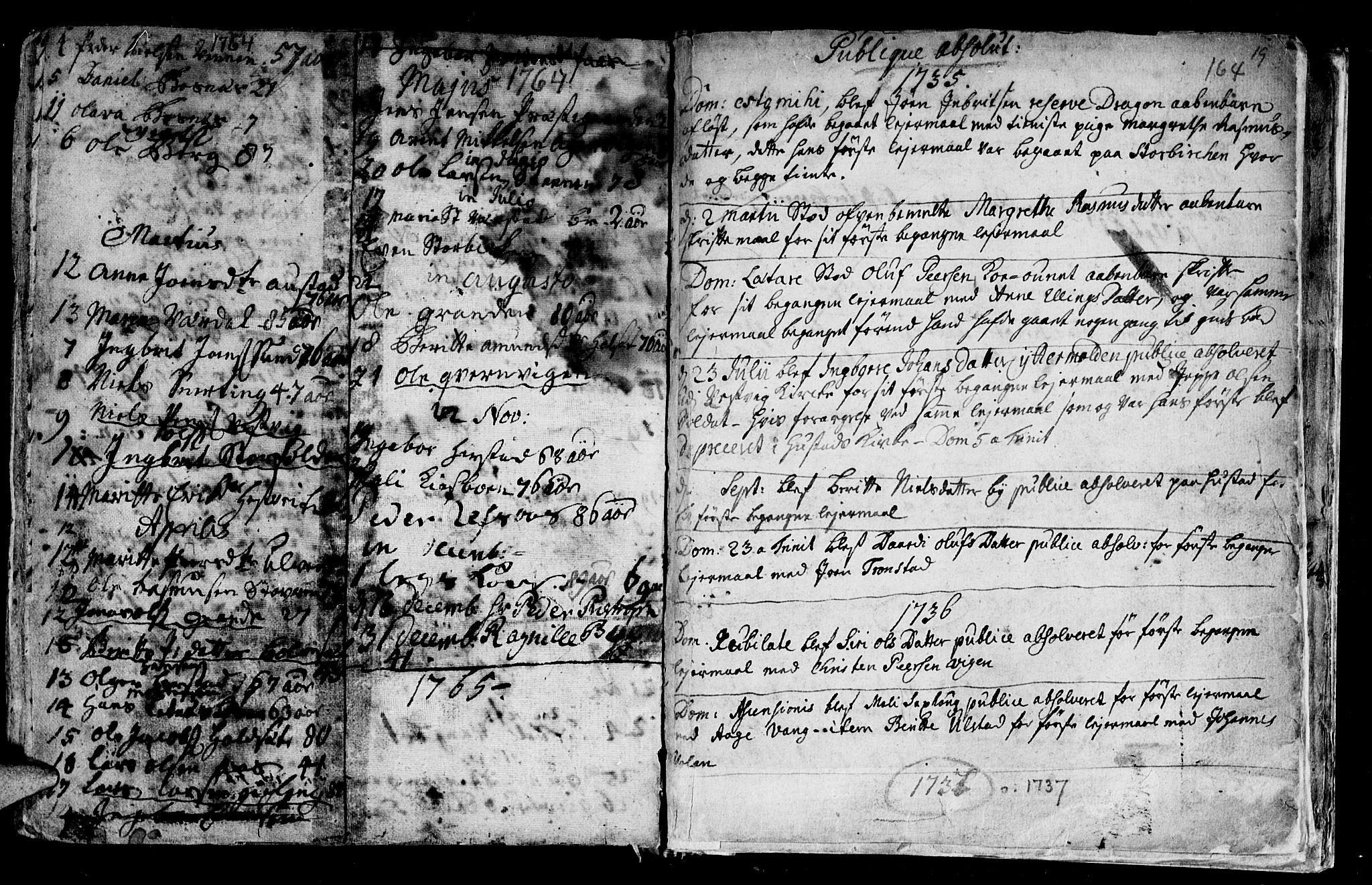 SAT, Ministerialprotokoller, klokkerbøker og fødselsregistre - Nord-Trøndelag, 730/L0272: Ministerialbok nr. 730A01, 1733-1764, s. 164