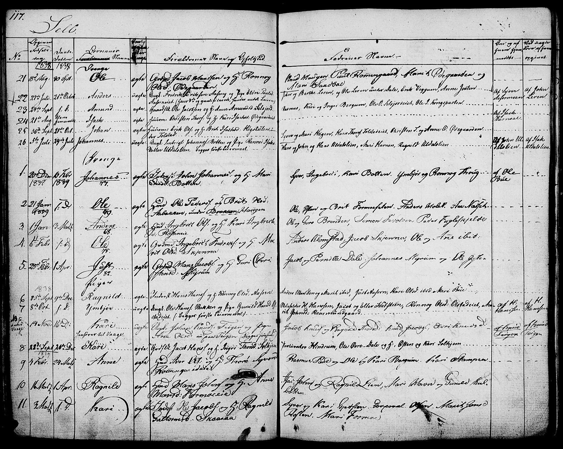 SAH, Vågå prestekontor, Ministerialbok nr. 4 /3, 1834-1842, s. 117