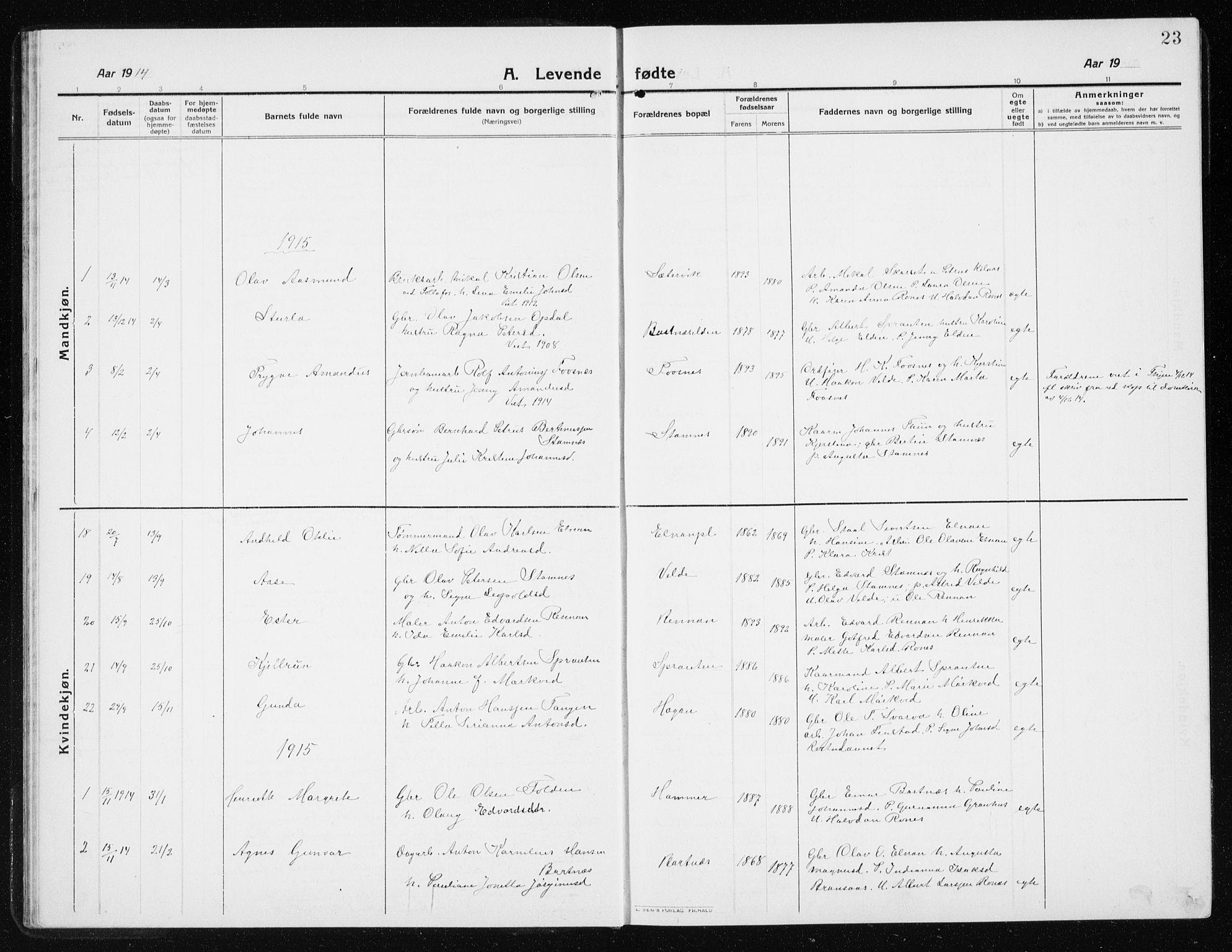 SAT, Ministerialprotokoller, klokkerbøker og fødselsregistre - Nord-Trøndelag, 741/L0402: Klokkerbok nr. 741C03, 1911-1926, s. 23