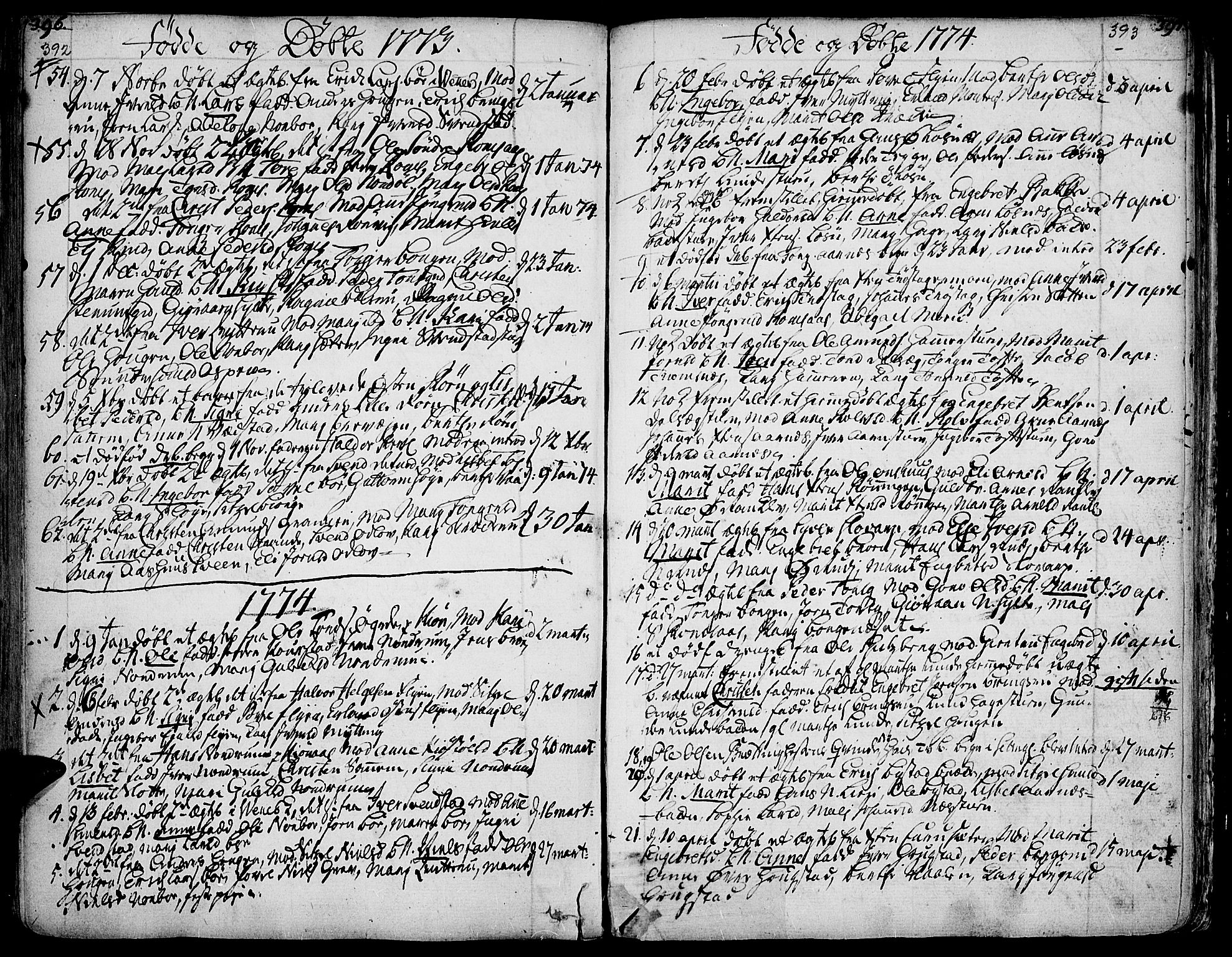 SAH, Ringebu prestekontor, Ministerialbok nr. 2, 1734-1780, s. 392-393