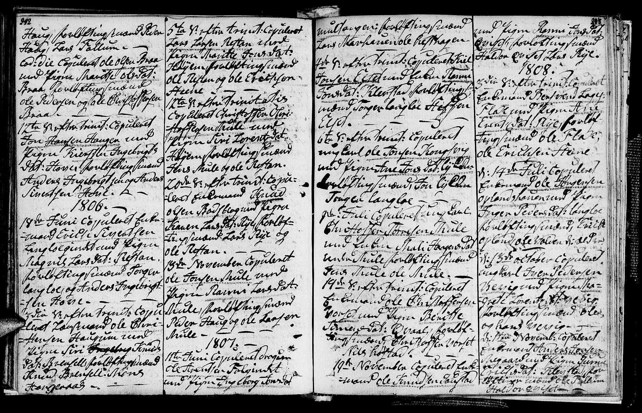 SAT, Ministerialprotokoller, klokkerbøker og fødselsregistre - Sør-Trøndelag, 612/L0371: Ministerialbok nr. 612A05, 1803-1816, s. 242-243