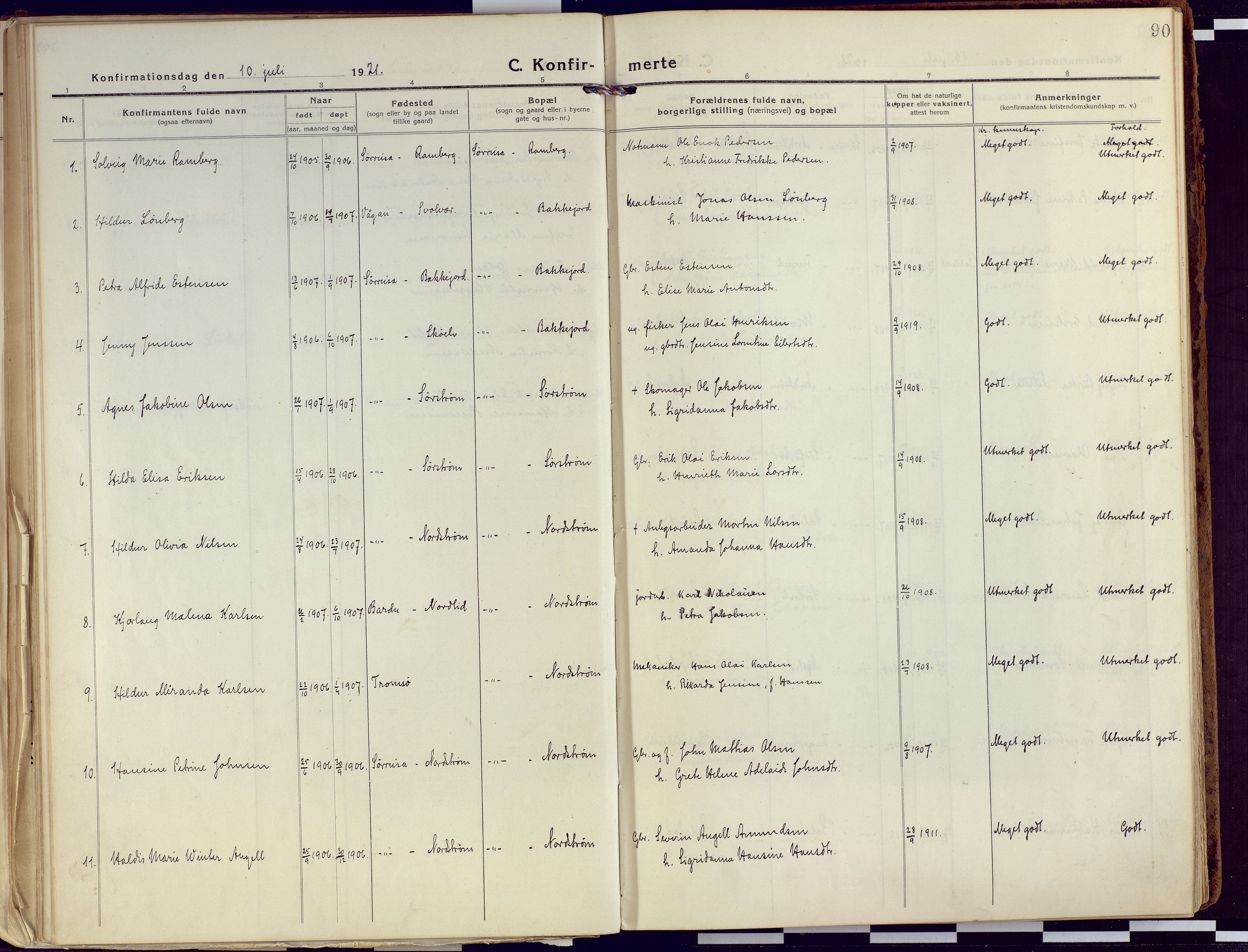 SATØ, Tranøy sokneprestkontor, I/Ia/Iaa/L0015kirke: Ministerialbok nr. 15, 1919-1928, s. 90