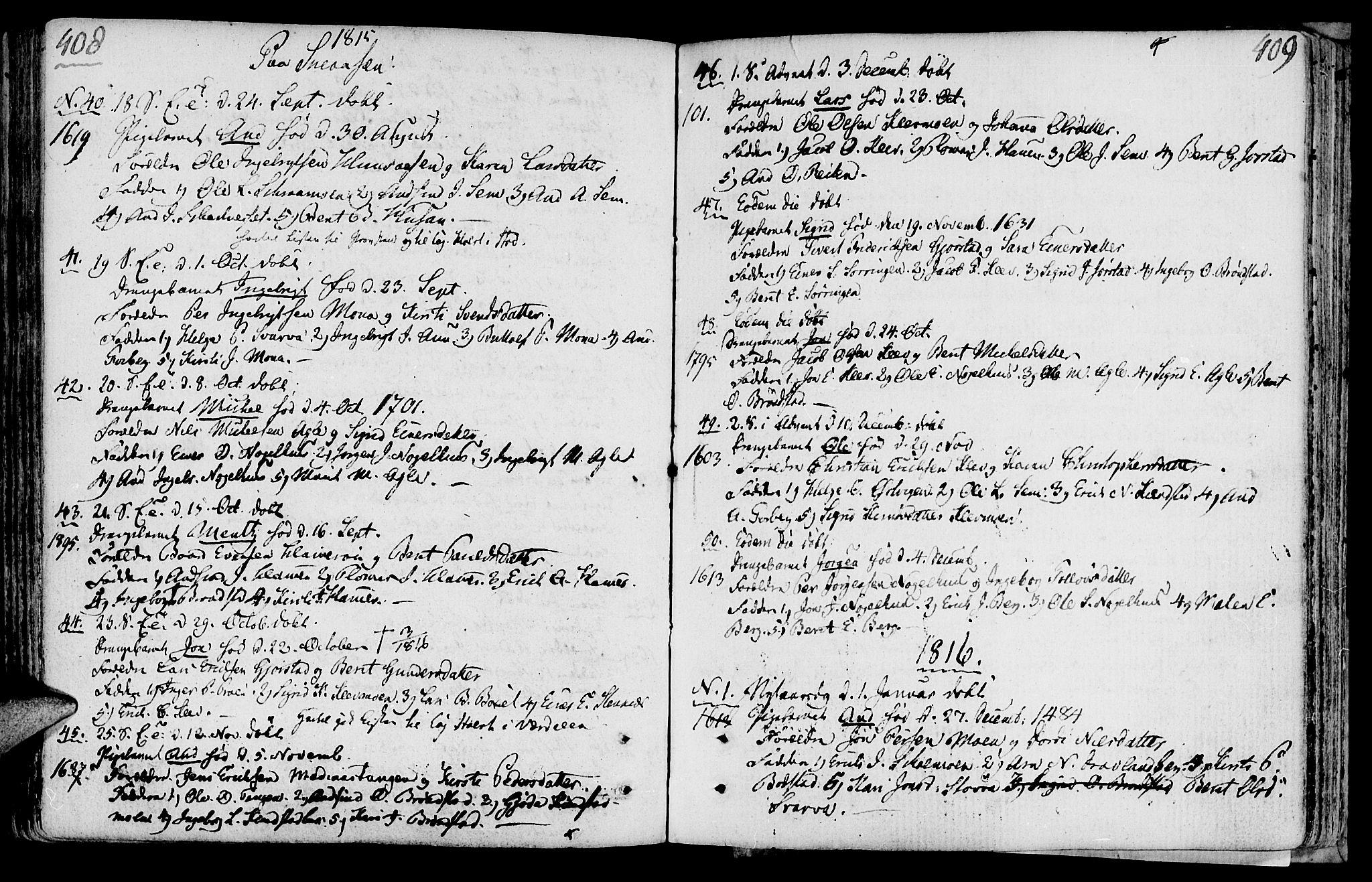 SAT, Ministerialprotokoller, klokkerbøker og fødselsregistre - Nord-Trøndelag, 749/L0468: Ministerialbok nr. 749A02, 1787-1817, s. 408-409