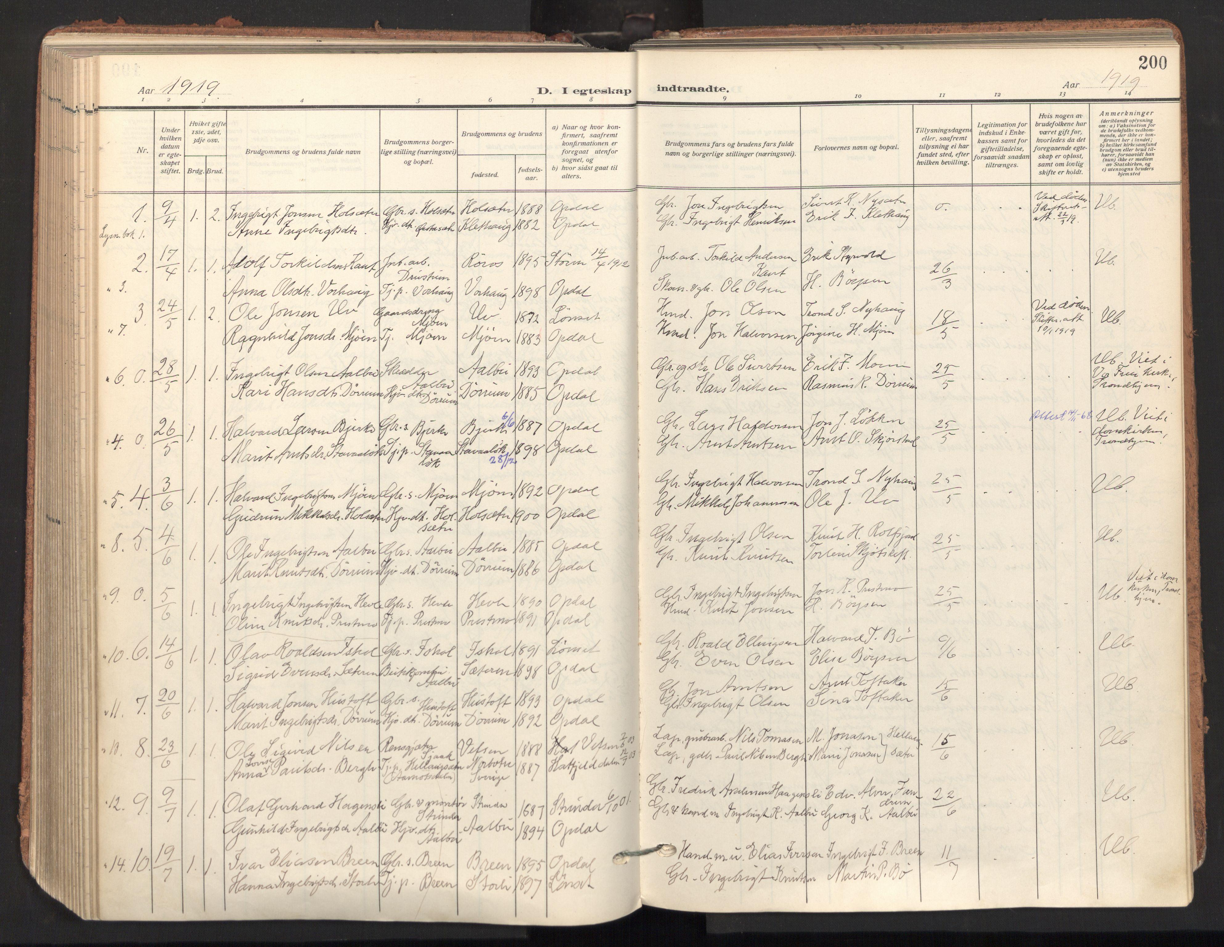 SAT, Ministerialprotokoller, klokkerbøker og fødselsregistre - Sør-Trøndelag, 678/L0909: Ministerialbok nr. 678A17, 1912-1930, s. 200