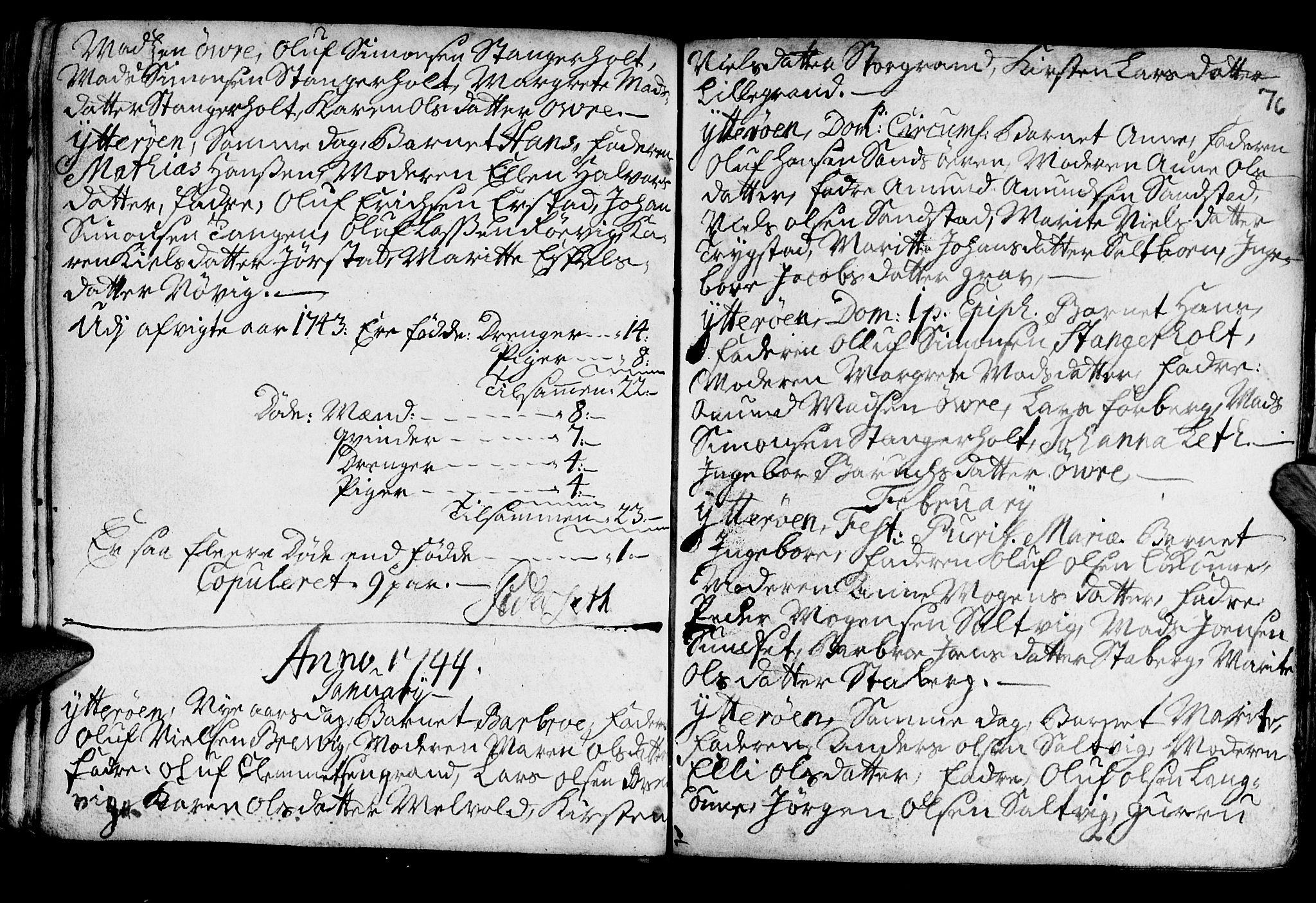SAT, Ministerialprotokoller, klokkerbøker og fødselsregistre - Nord-Trøndelag, 722/L0215: Ministerialbok nr. 722A02, 1718-1755, s. 76