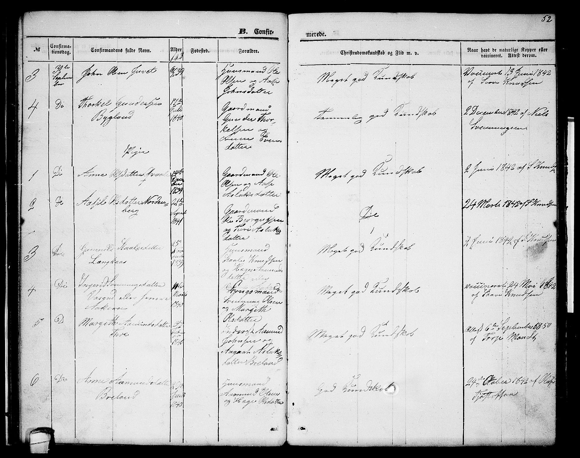 SAKO, Lårdal kirkebøker, G/Gc/L0002: Klokkerbok nr. III 2, 1852-1877, s. 52