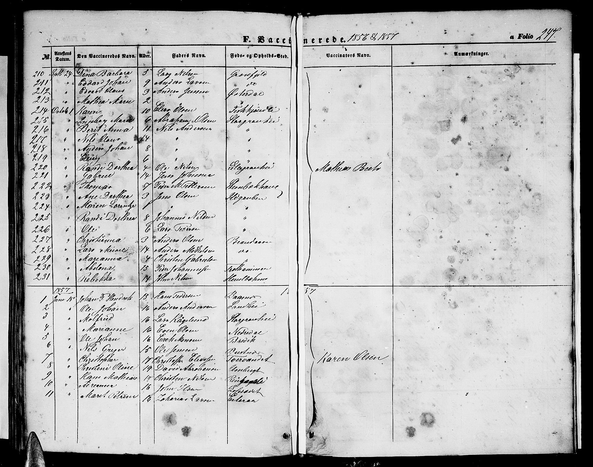 SAT, Ministerialprotokoller, klokkerbøker og fødselsregistre - Nordland, 827/L0414: Klokkerbok nr. 827C03, 1853-1865, s. 247
