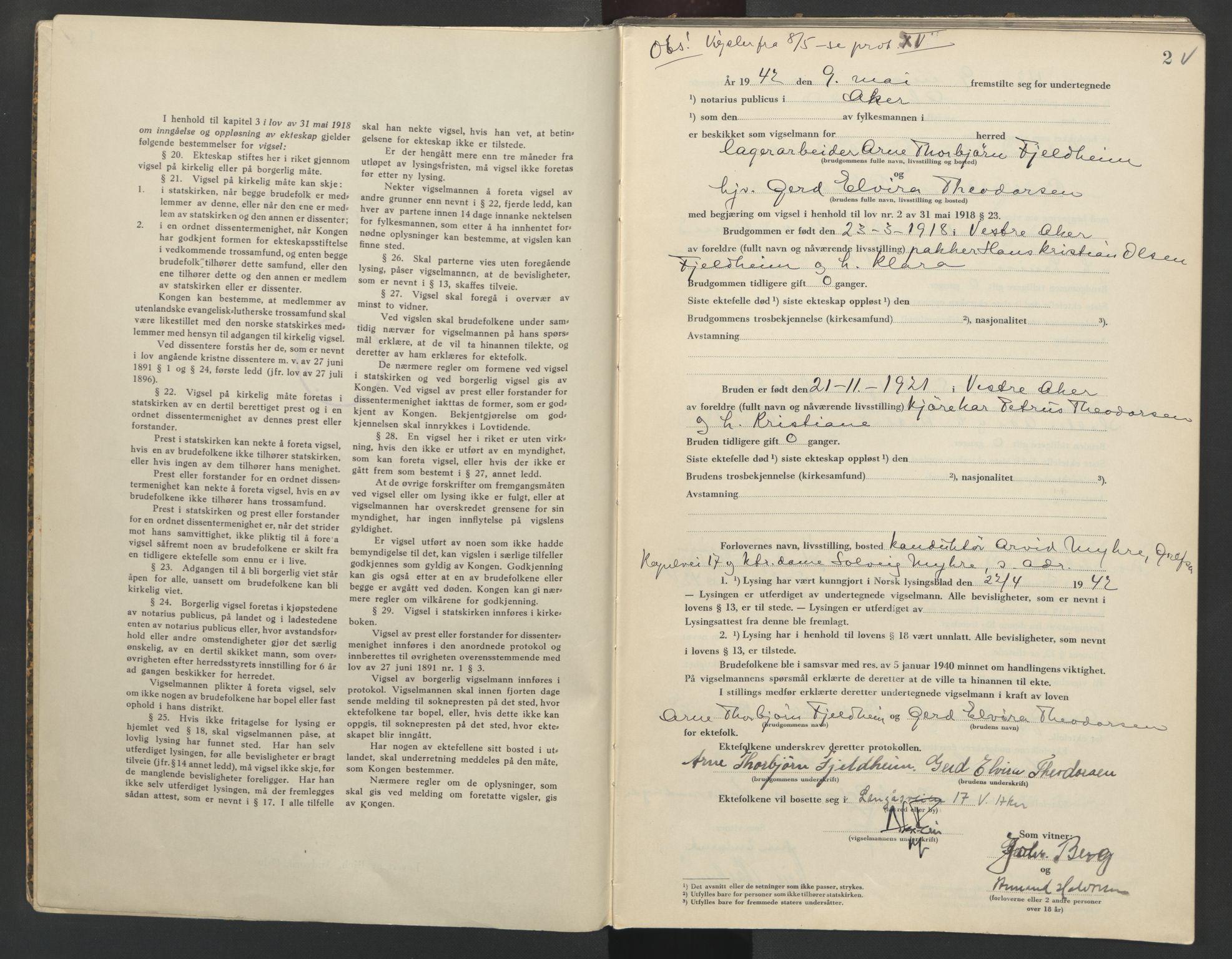 SAO, Aker sorenskriveri, L/Lc/Lcb/L0016: Vigselprotokoll, 1942, s. 2