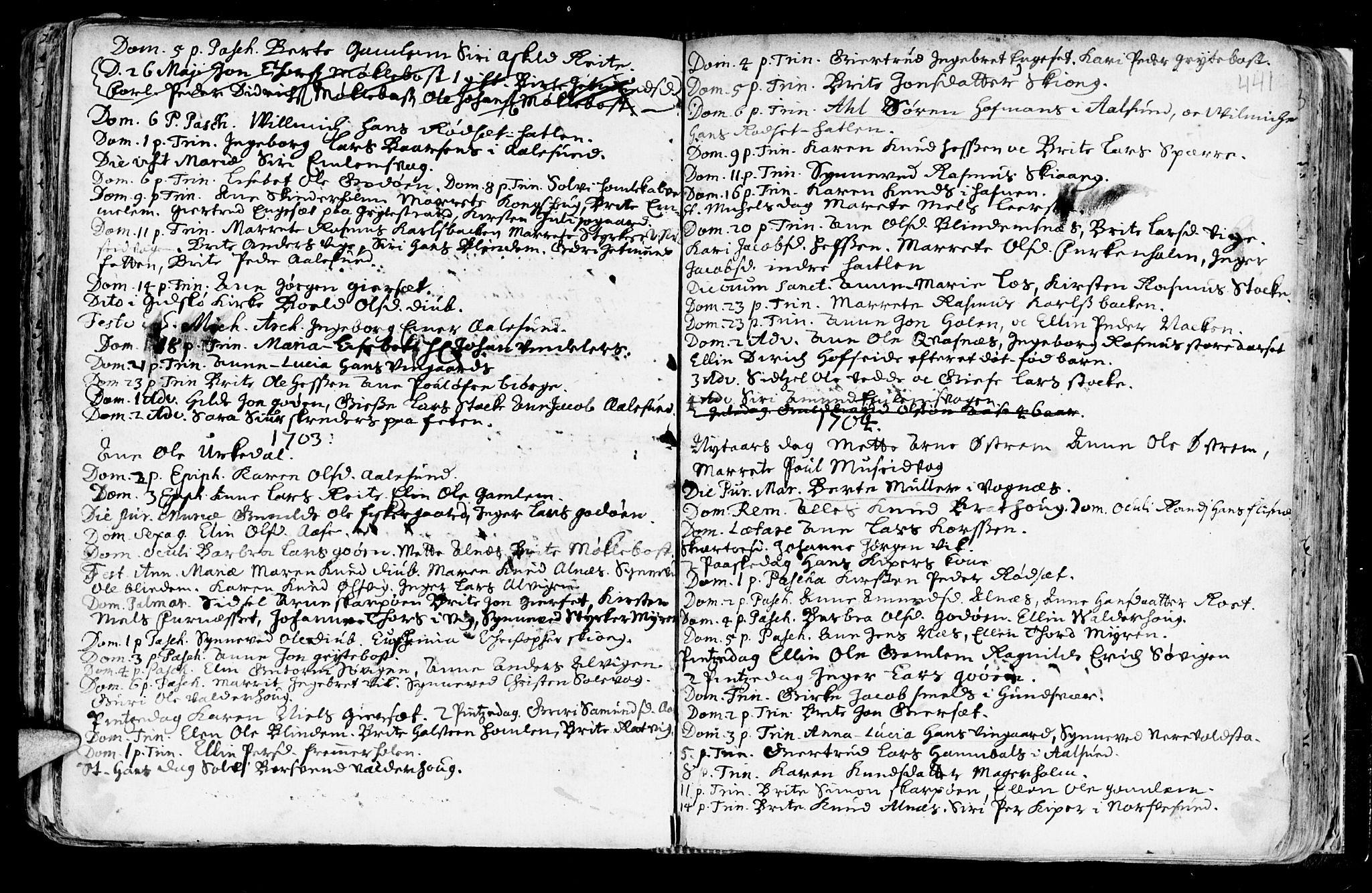 SAT, Ministerialprotokoller, klokkerbøker og fødselsregistre - Møre og Romsdal, 528/L0390: Ministerialbok nr. 528A01, 1698-1739, s. 440-441