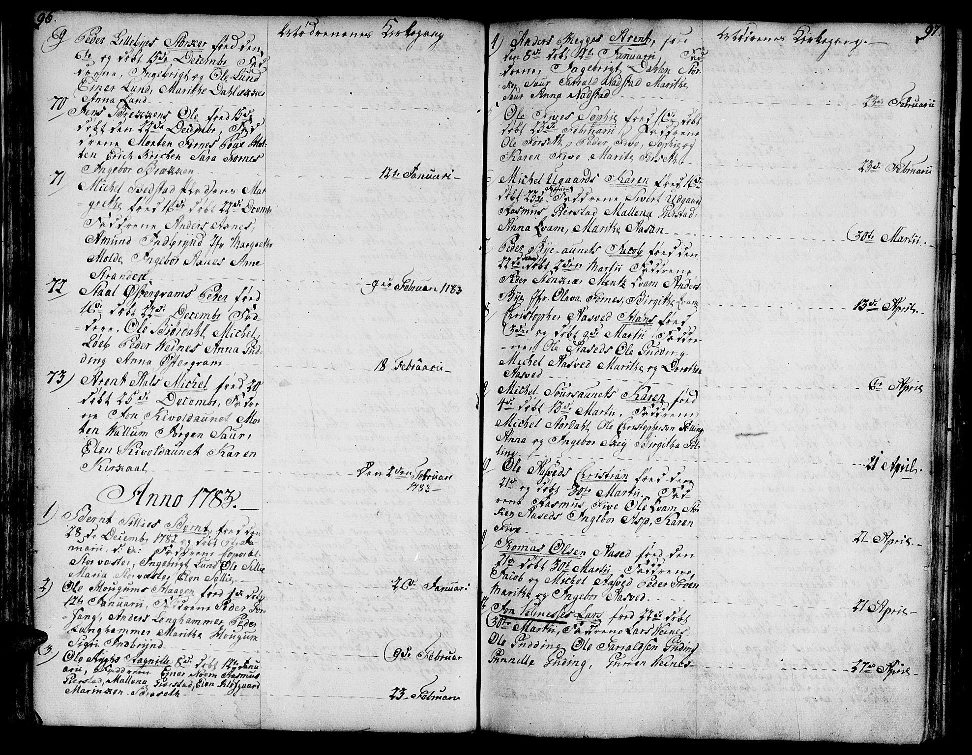 SAT, Ministerialprotokoller, klokkerbøker og fødselsregistre - Nord-Trøndelag, 746/L0440: Ministerialbok nr. 746A02, 1760-1815, s. 96-97