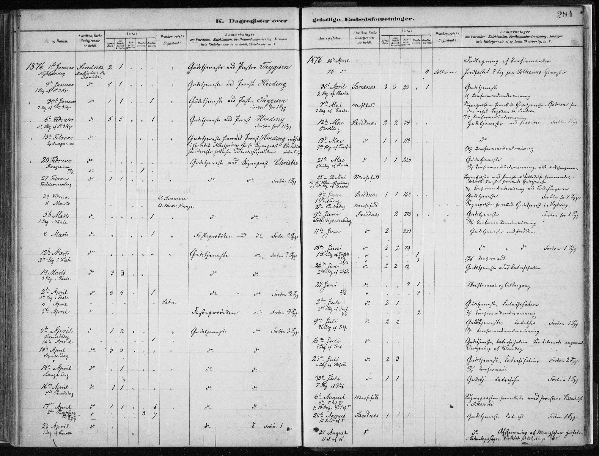 SAB, Masfjorden Soknepresembete, Ministerialbok nr. B  1, 1876-1899, s. 284