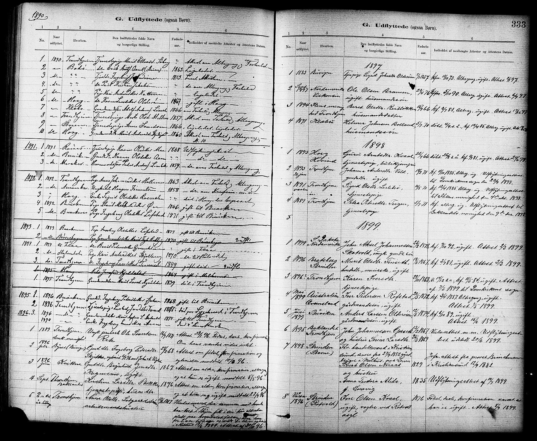 SAT, Ministerialprotokoller, klokkerbøker og fødselsregistre - Sør-Trøndelag, 691/L1094: Klokkerbok nr. 691C05, 1879-1911, s. 333