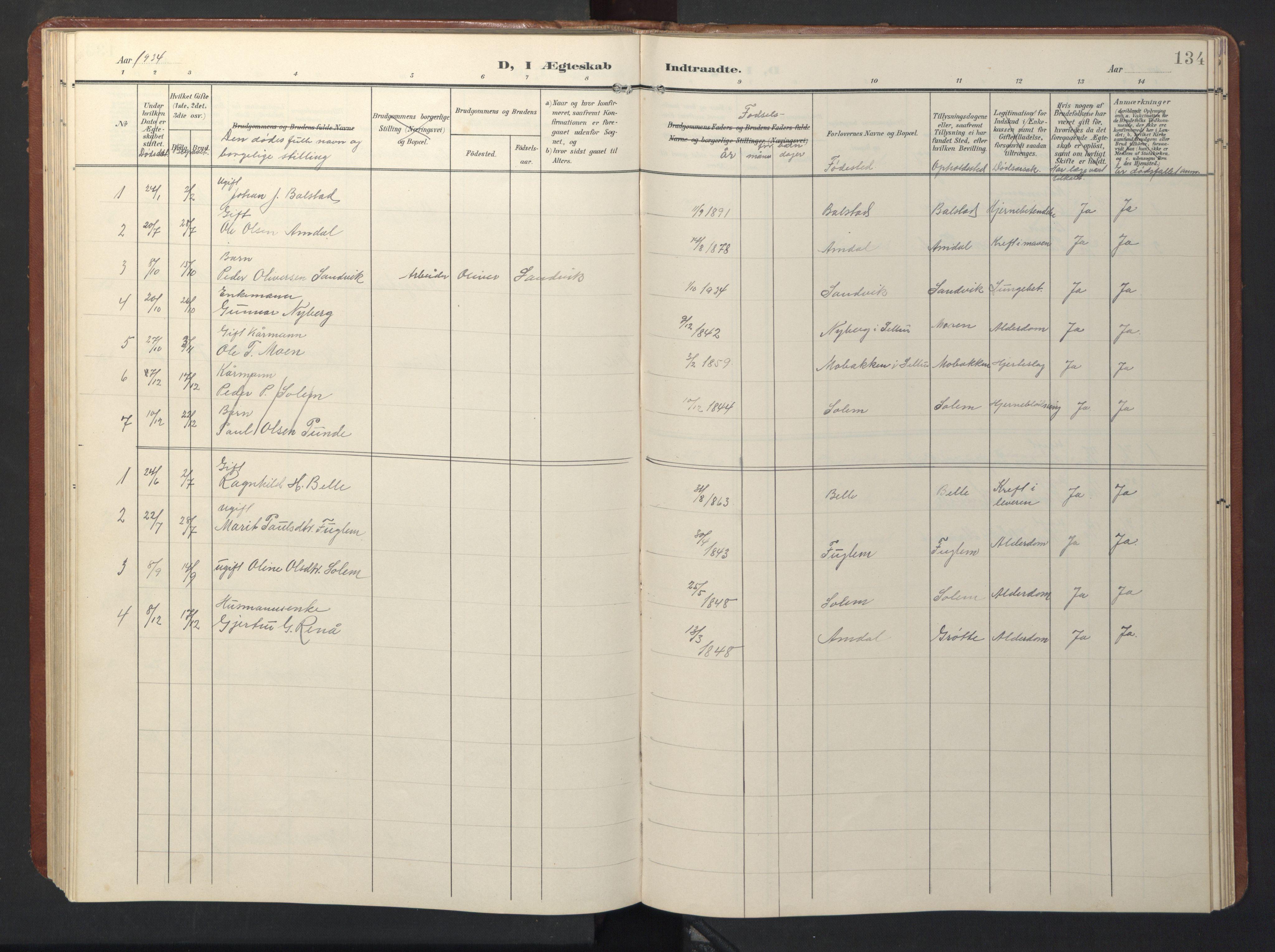 SAT, Ministerialprotokoller, klokkerbøker og fødselsregistre - Sør-Trøndelag, 696/L1161: Klokkerbok nr. 696C01, 1902-1950, s. 134