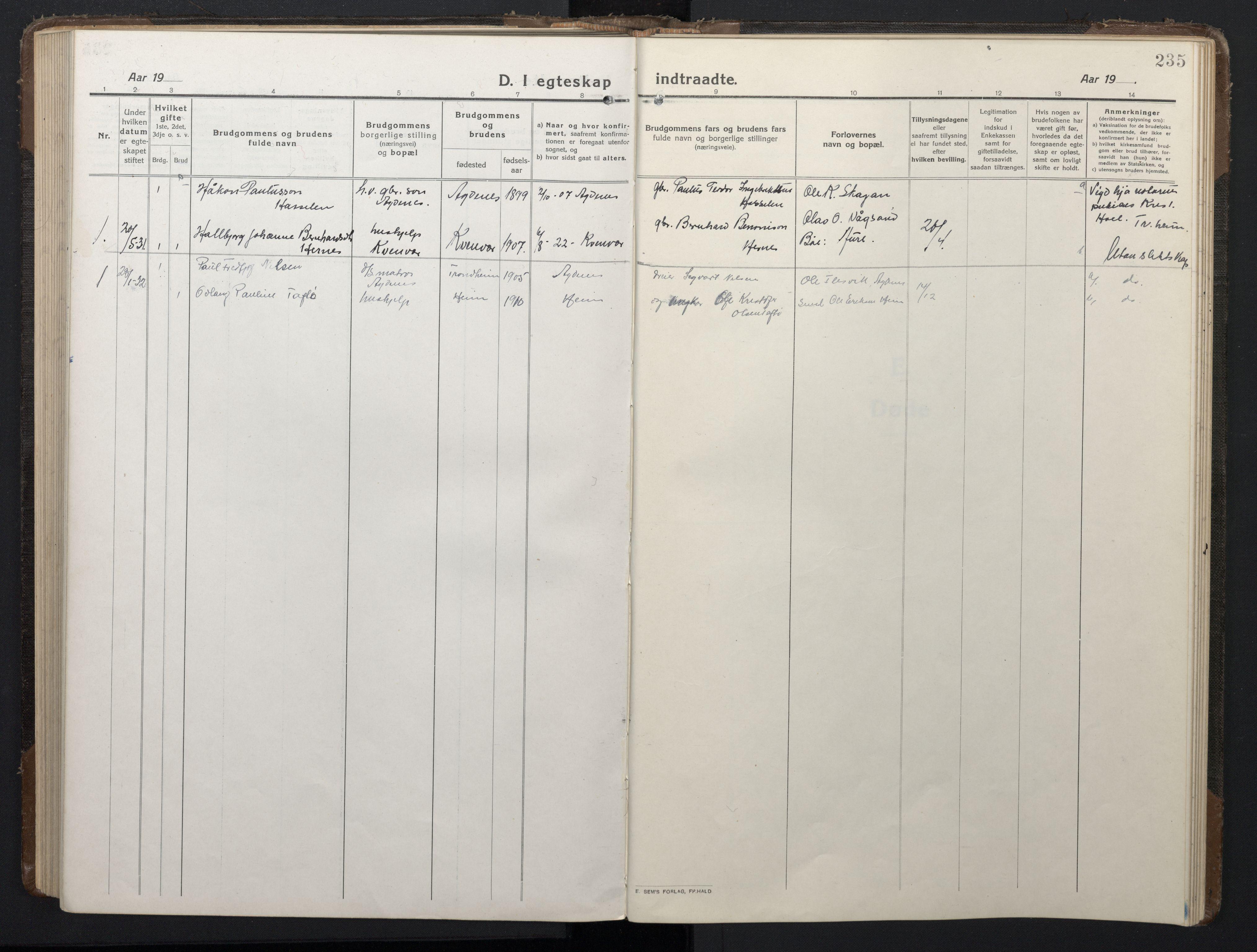 SAT, Ministerialprotokoller, klokkerbøker og fødselsregistre - Sør-Trøndelag, 662/L0758: Klokkerbok nr. 662C03, 1918-1948, s. 235