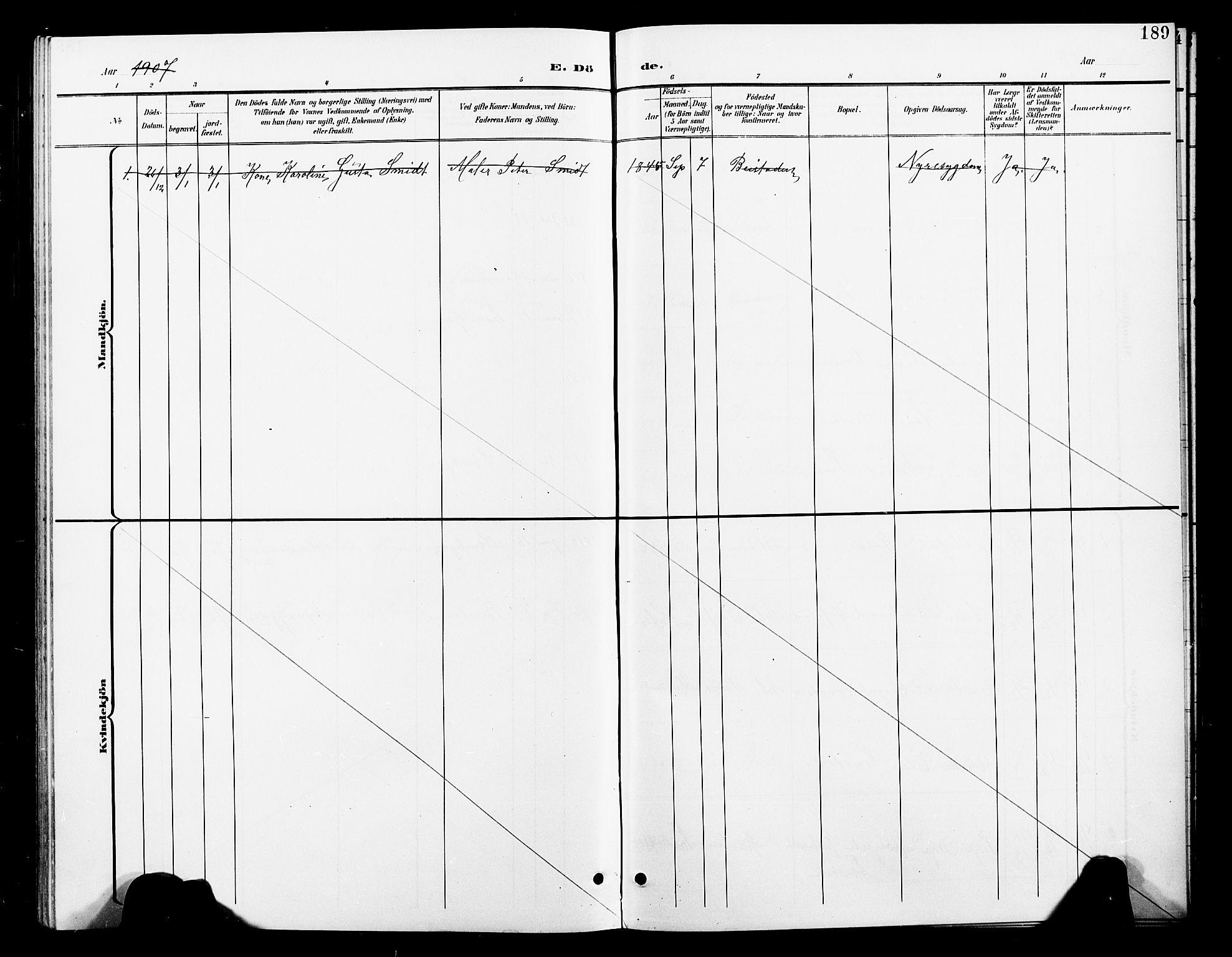 SAT, Ministerialprotokoller, klokkerbøker og fødselsregistre - Nord-Trøndelag, 739/L0375: Klokkerbok nr. 739C03, 1898-1908, s. 189