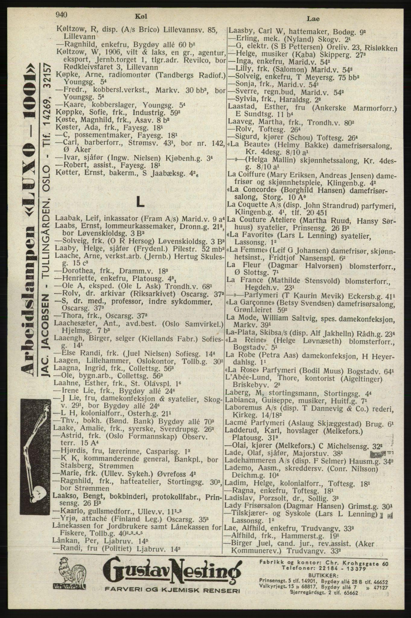 RA, Oslo adressebok (publikasjon)*, 1940, s. 940