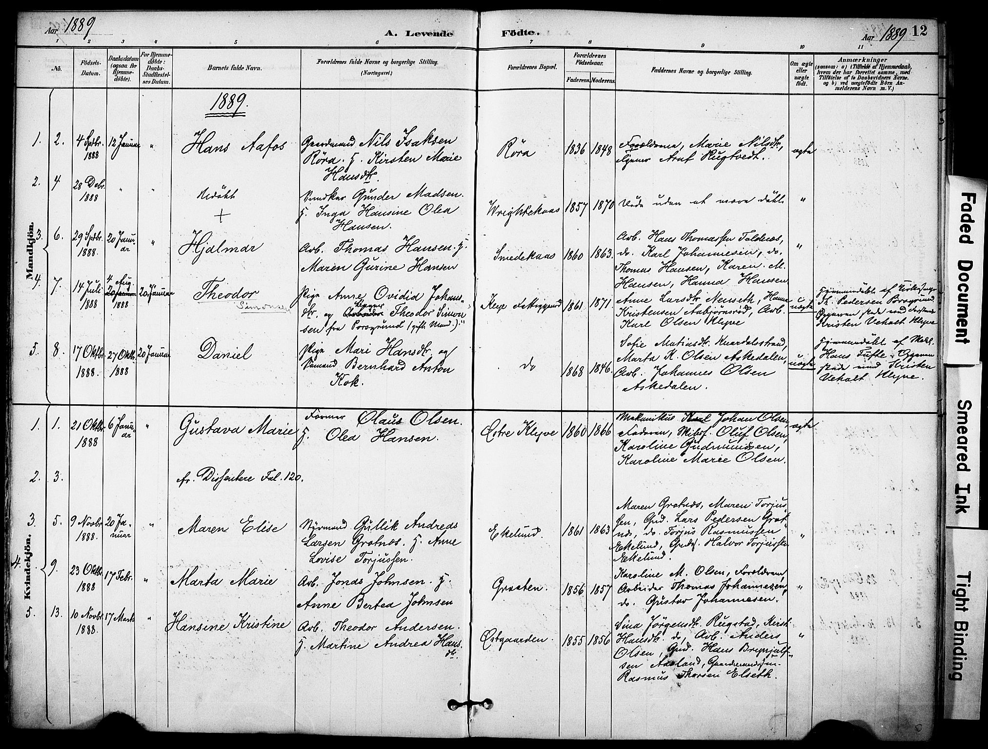 SAKO, Solum kirkebøker, F/Fa/L0010: Ministerialbok nr. I 10, 1888-1898, s. 12