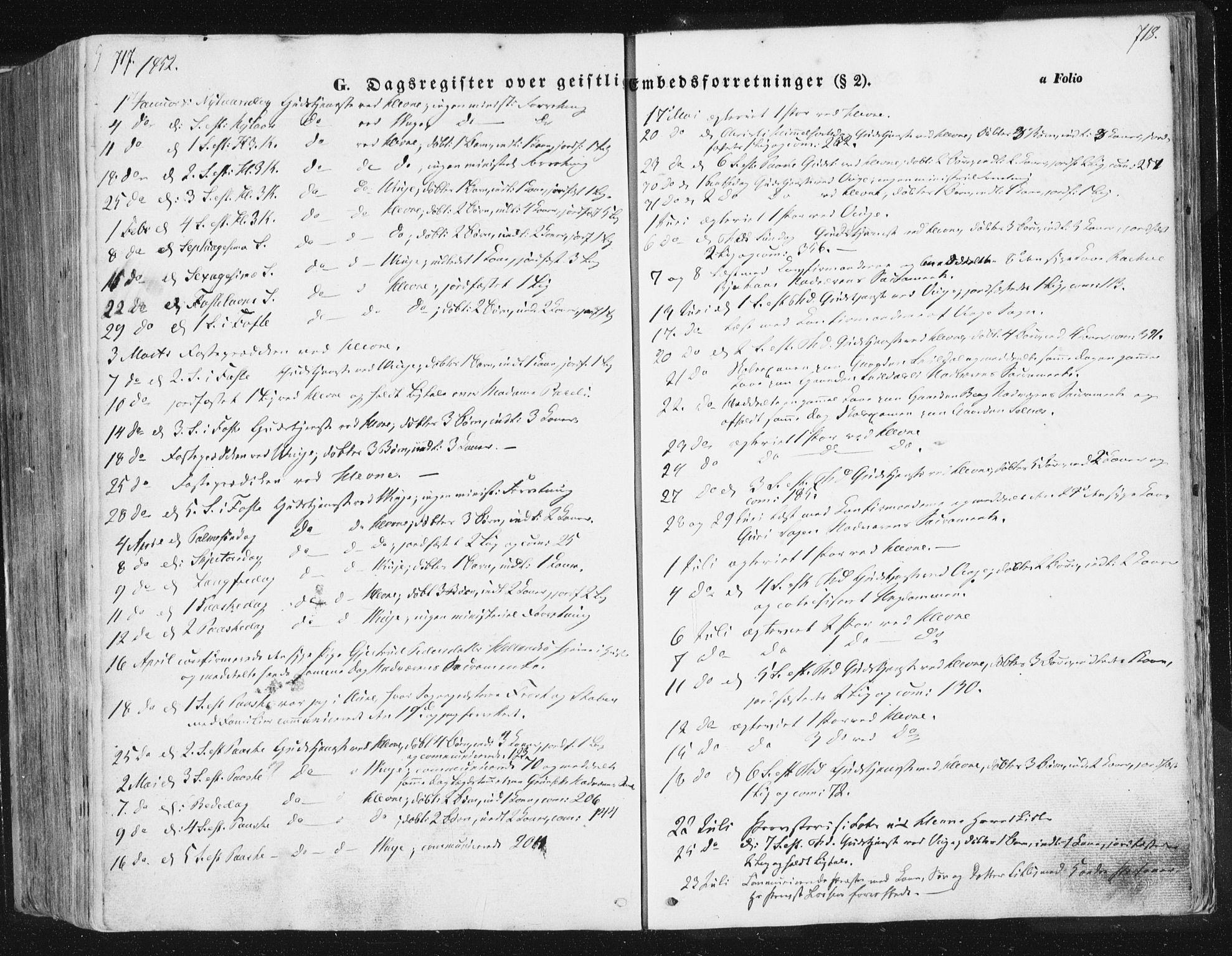 SAT, Ministerialprotokoller, klokkerbøker og fødselsregistre - Sør-Trøndelag, 630/L0494: Ministerialbok nr. 630A07, 1852-1868, s. 717-718