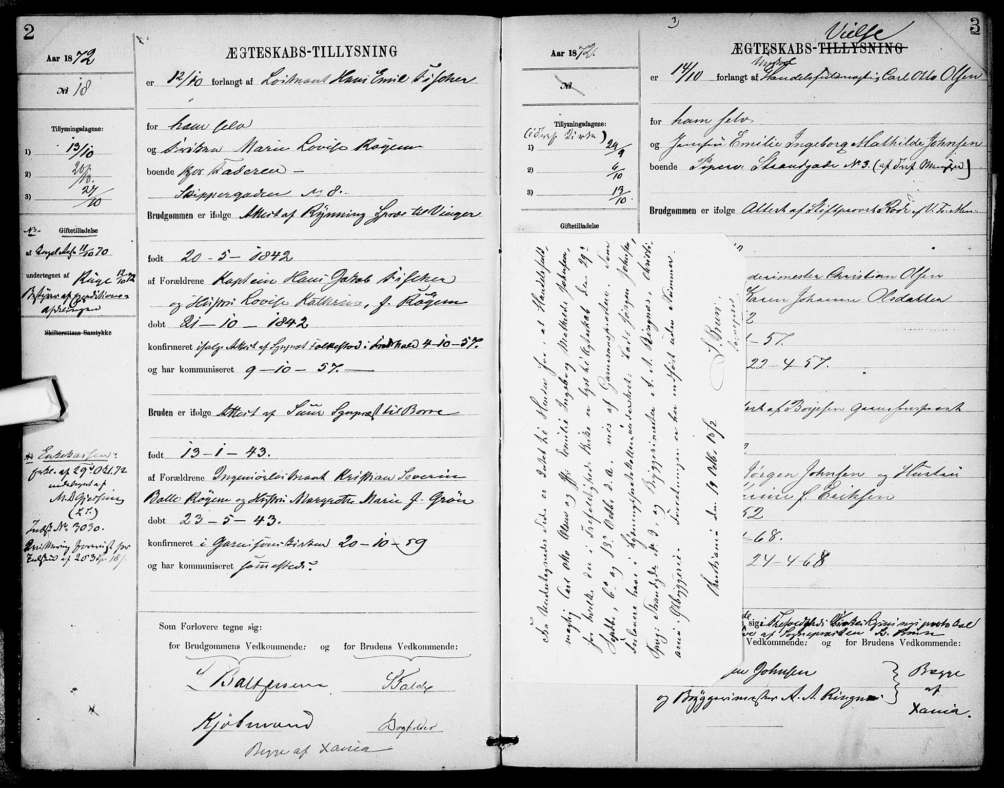 SAO, Garnisonsmenigheten Kirkebøker, H/Ha/L0007: Lysningsprotokoll nr. I 7, 1872-1893, s. 2-3