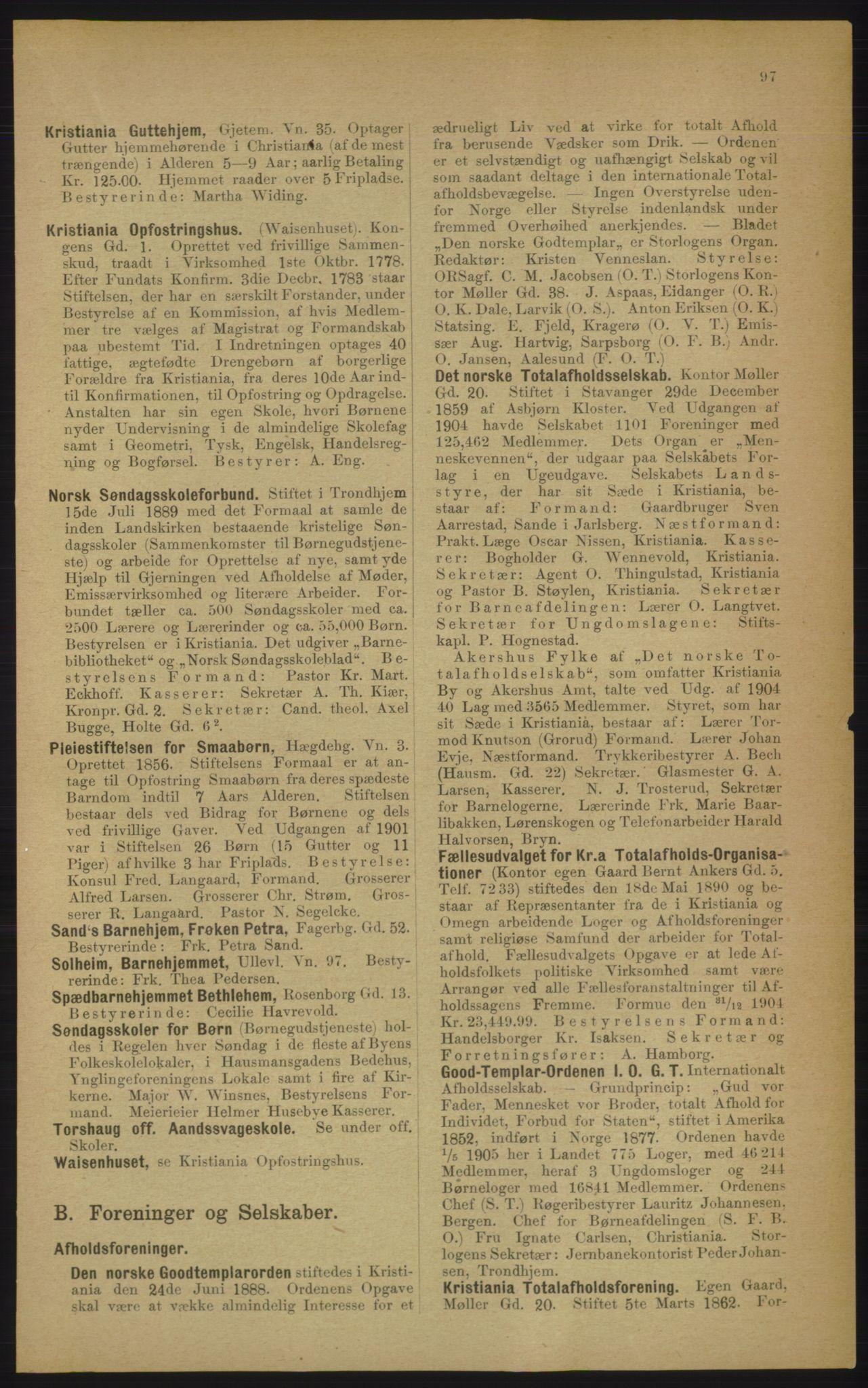 PUBL, Kristiania/Oslo adressebok, 1906, s. 97