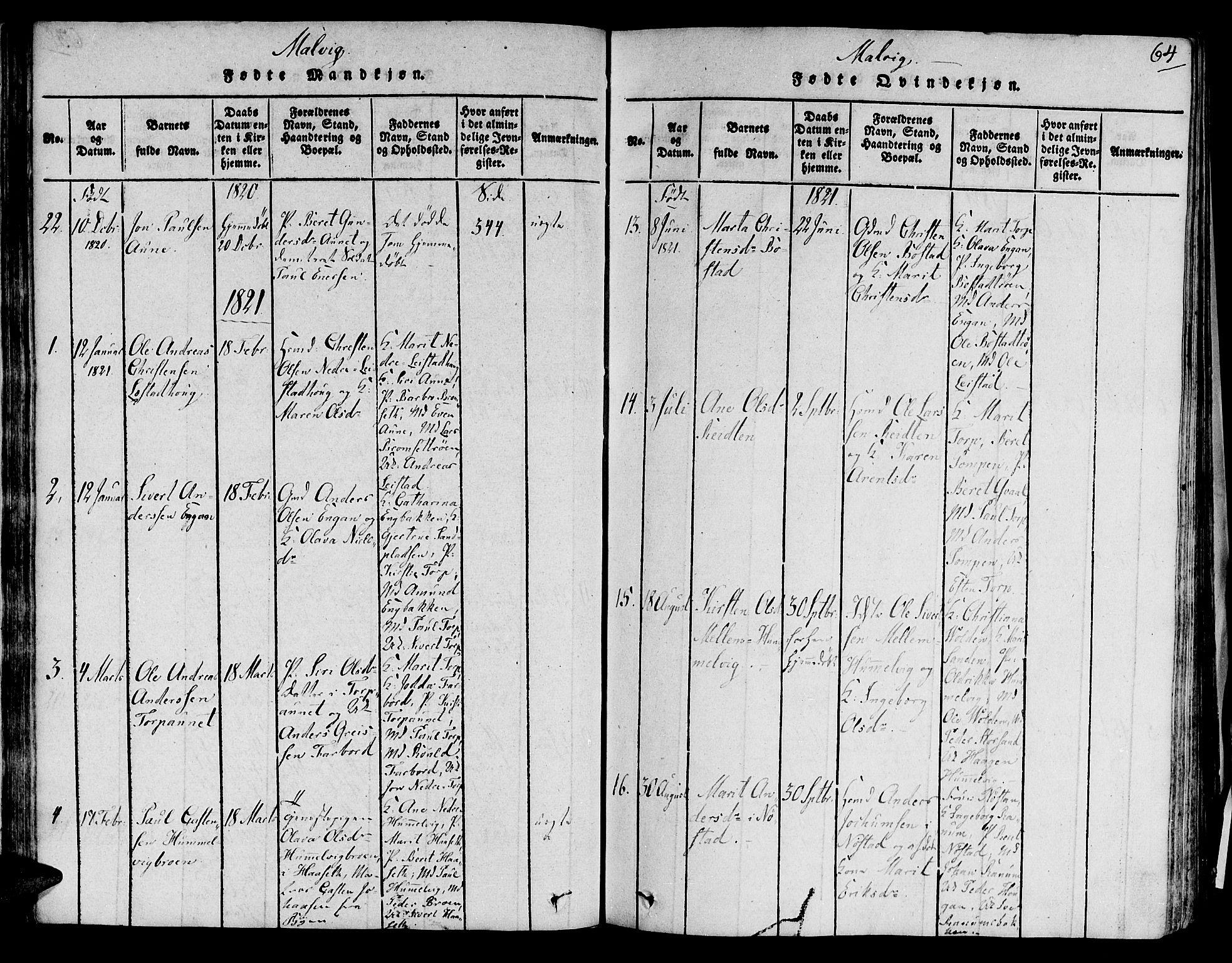 SAT, Ministerialprotokoller, klokkerbøker og fødselsregistre - Sør-Trøndelag, 606/L0284: Ministerialbok nr. 606A03 /2, 1819-1823, s. 64