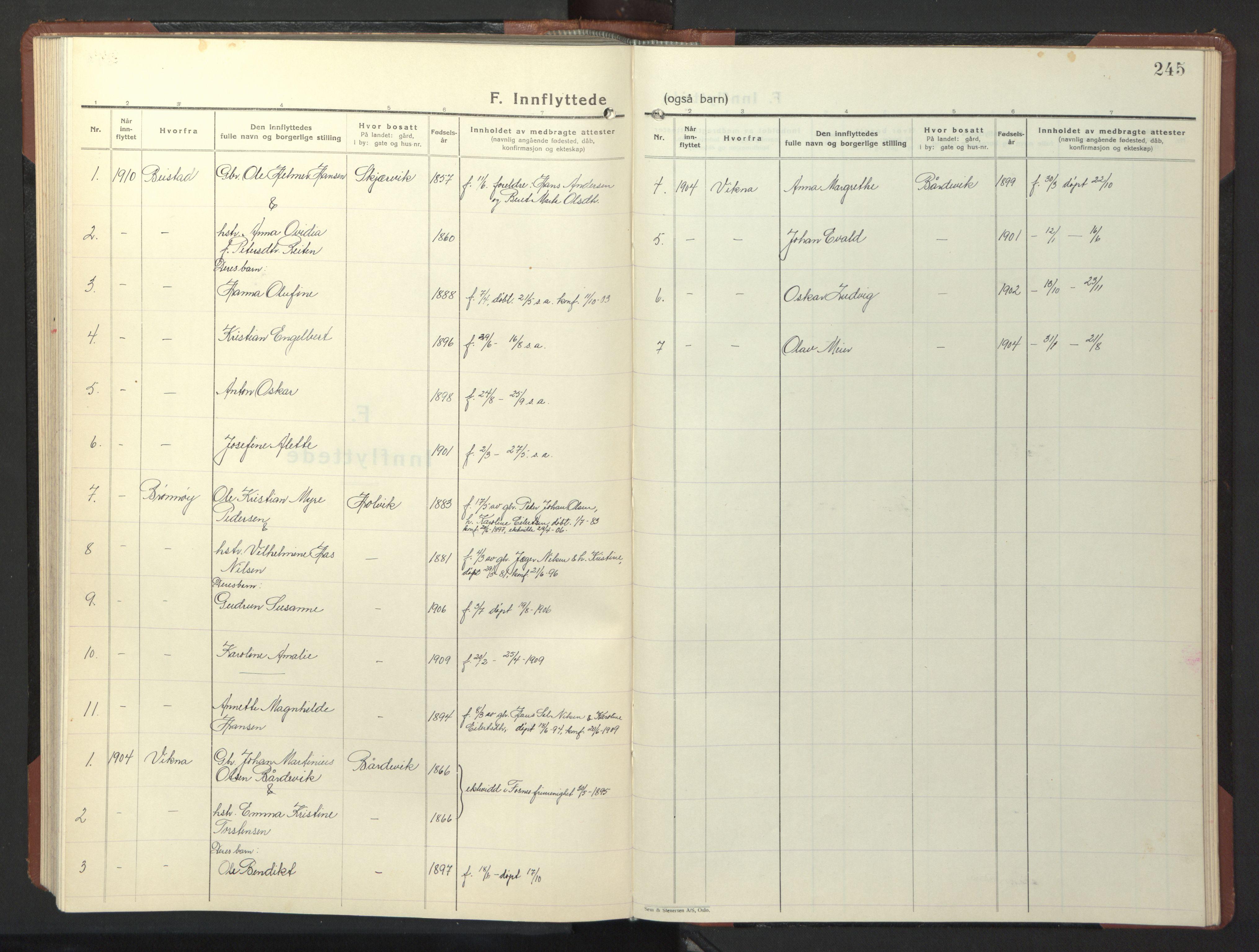 SAT, Ministerialprotokoller, klokkerbøker og fødselsregistre - Nord-Trøndelag, 773/L0625: Klokkerbok nr. 773C01, 1910-1952, s. 245