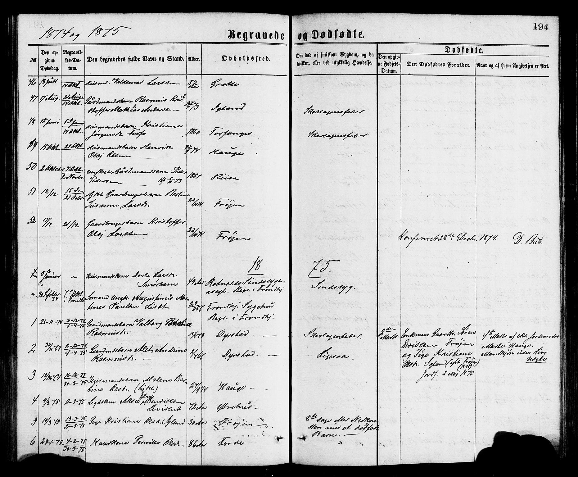 SAB, Bremanger Sokneprestembete, H/Hab: Klokkerbok nr. A 2, 1866-1889, s. 194