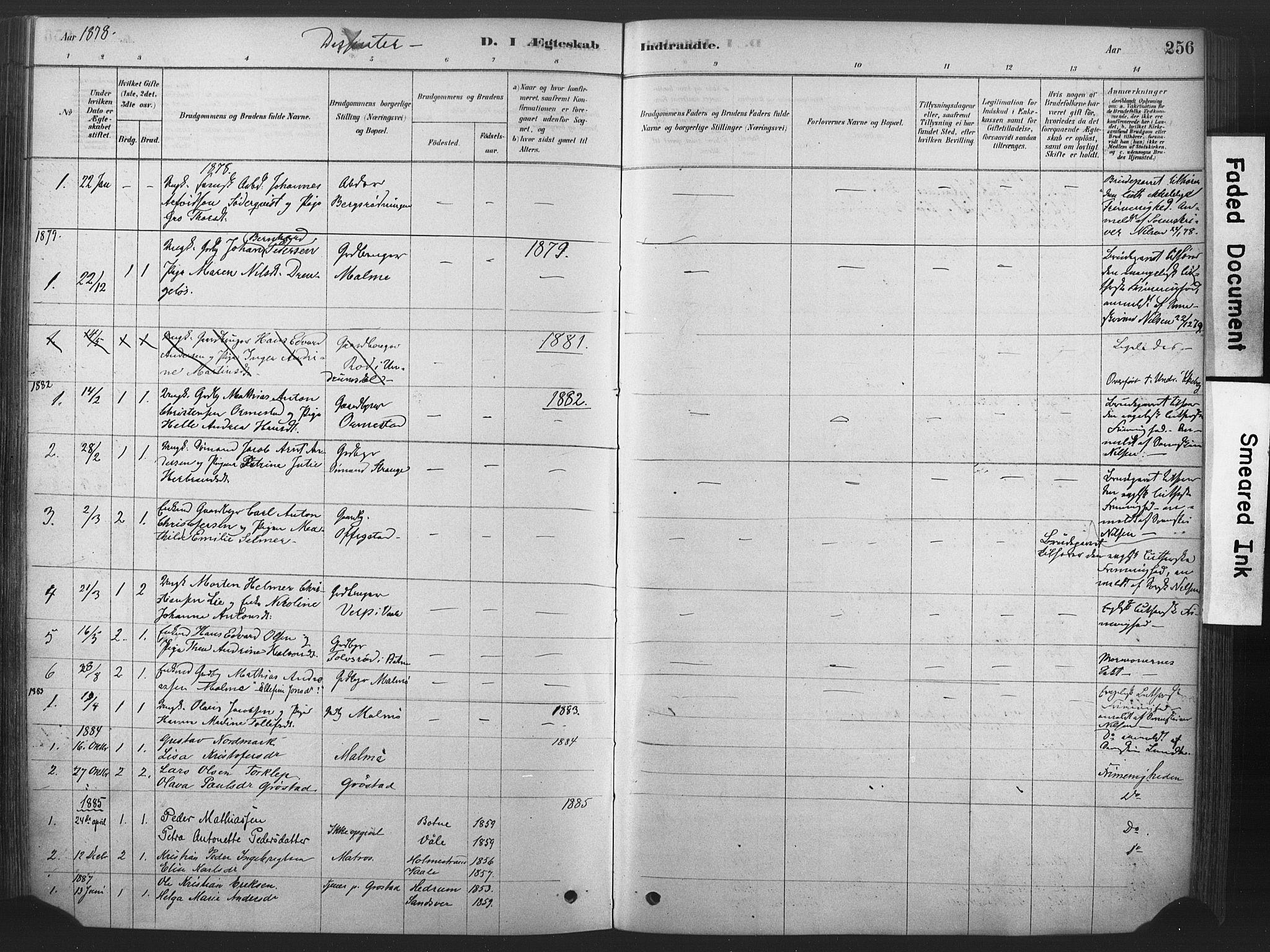 SAKO, Våle kirkebøker, F/Fa/L0011: Ministerialbok nr. I 11, 1878-1906, s. 256