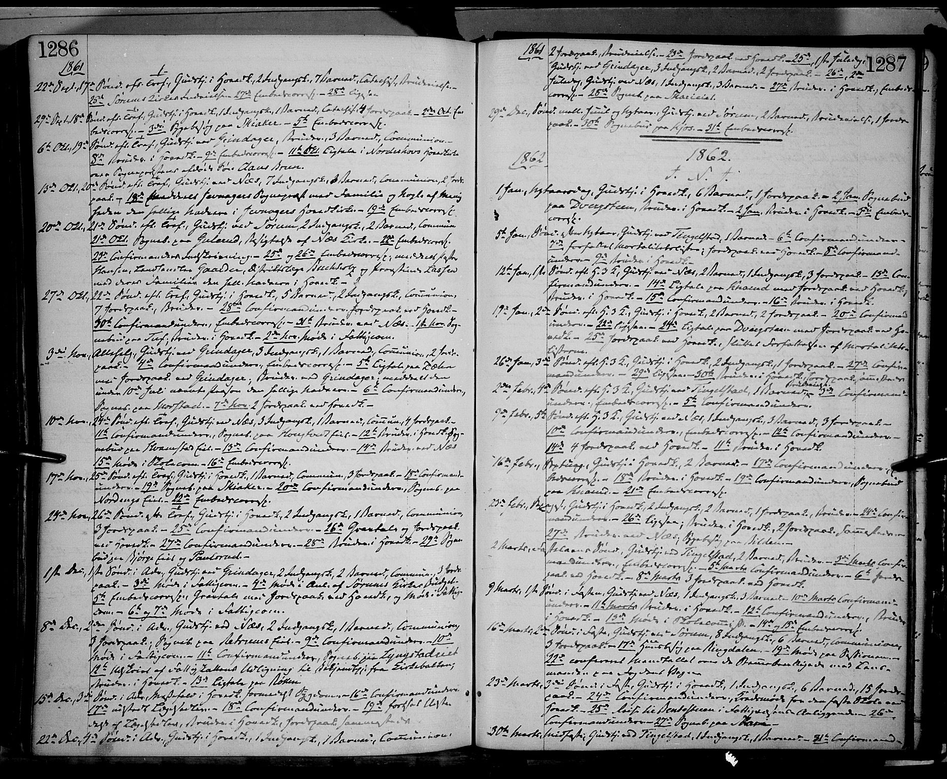 SAH, Gran prestekontor, Ministerialbok nr. 12, 1856-1874, s. 1286-1287