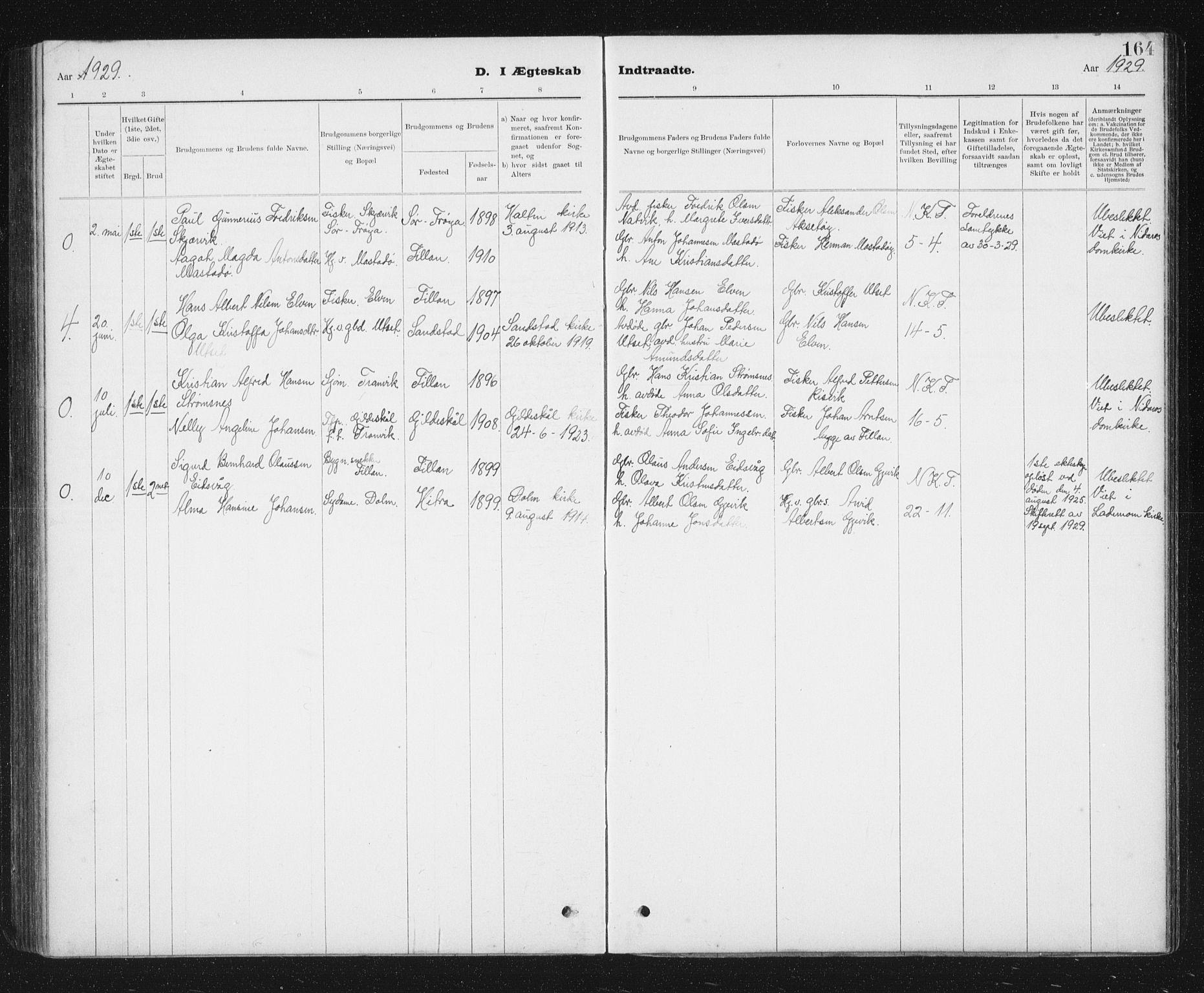 SAT, Ministerialprotokoller, klokkerbøker og fødselsregistre - Sør-Trøndelag, 637/L0563: Klokkerbok nr. 637C04, 1899-1940, s. 164