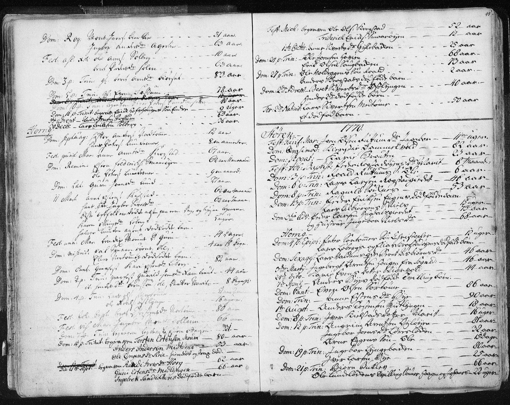 SAT, Ministerialprotokoller, klokkerbøker og fødselsregistre - Sør-Trøndelag, 687/L0991: Ministerialbok nr. 687A02, 1747-1790, s. 45
