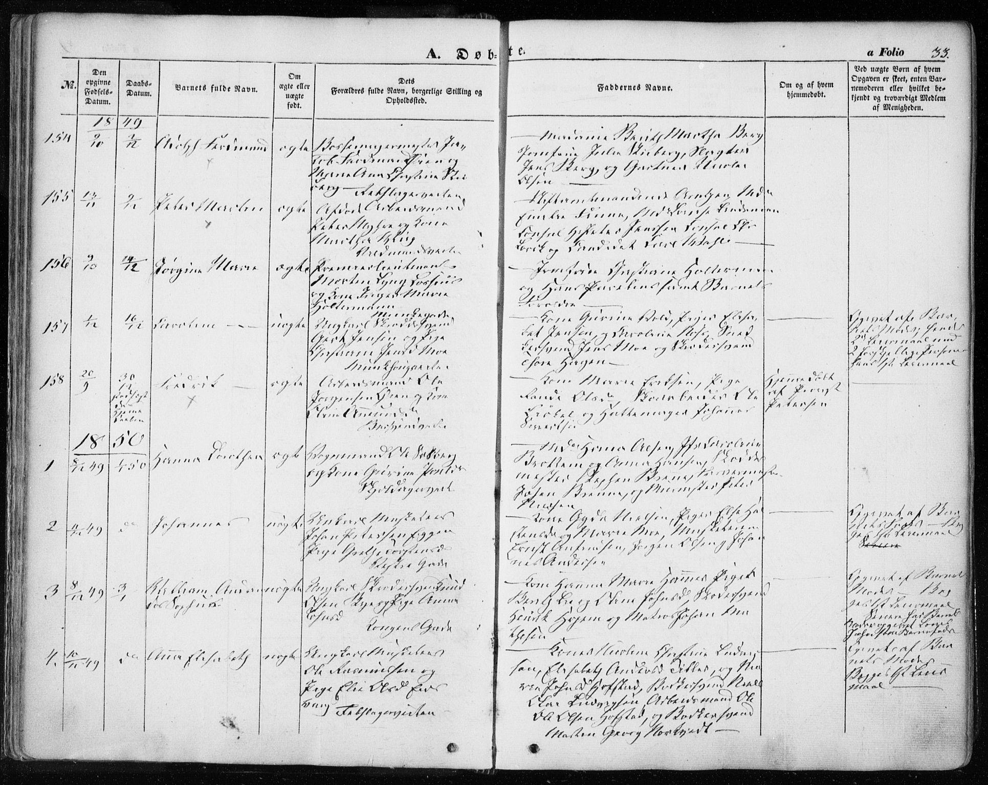 SAT, Ministerialprotokoller, klokkerbøker og fødselsregistre - Sør-Trøndelag, 601/L0051: Ministerialbok nr. 601A19, 1848-1857, s. 33