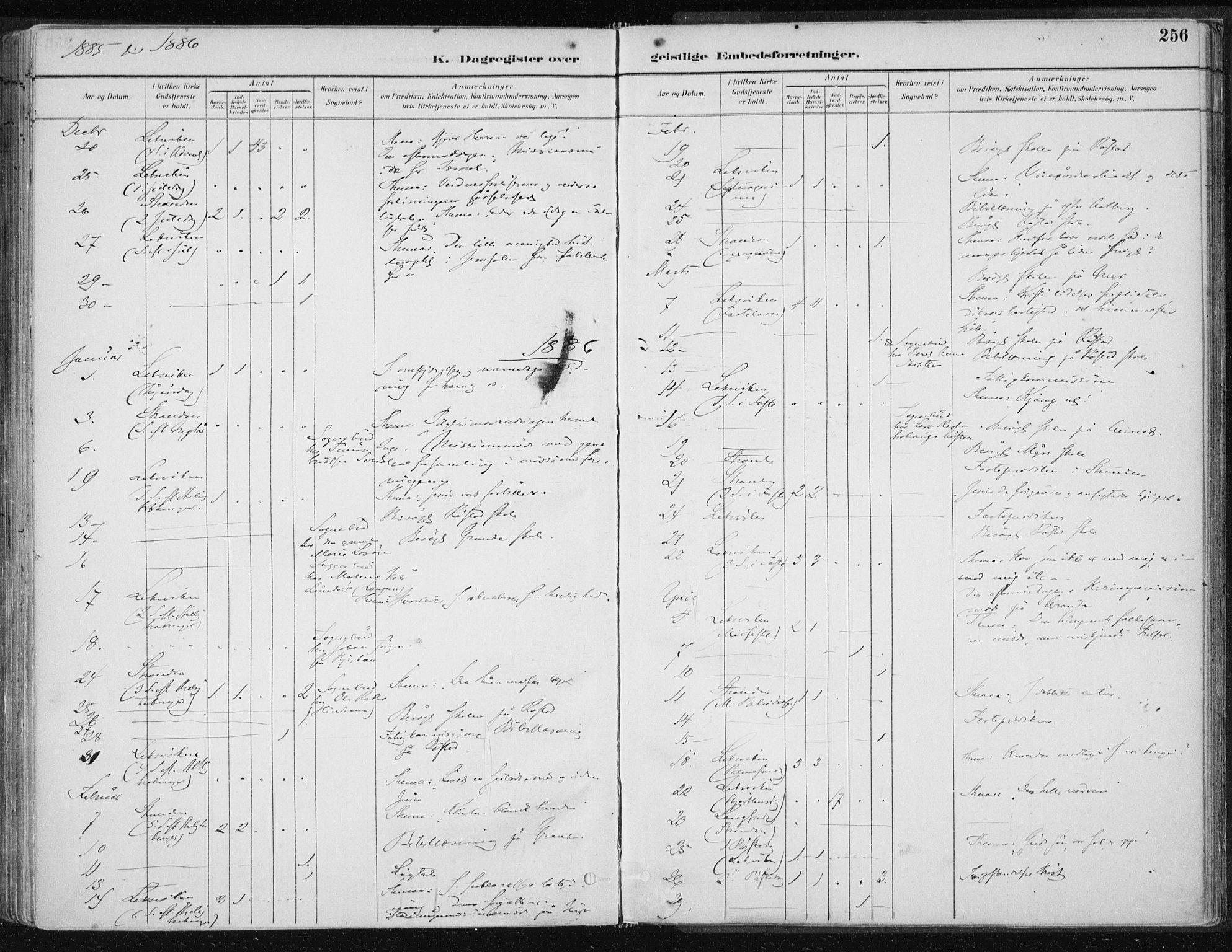 SAT, Ministerialprotokoller, klokkerbøker og fødselsregistre - Nord-Trøndelag, 701/L0010: Ministerialbok nr. 701A10, 1883-1899, s. 256