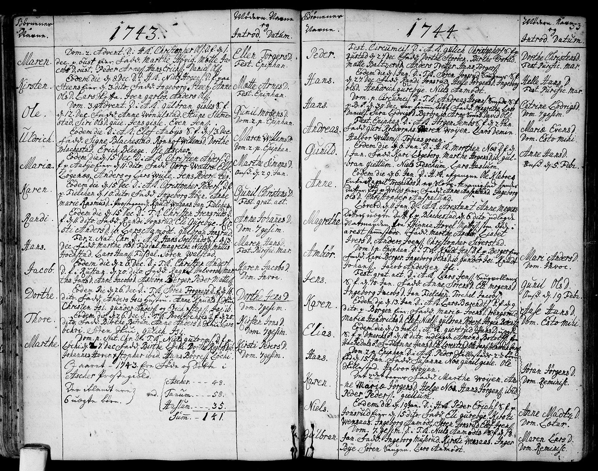 SAO, Asker prestekontor Kirkebøker, F/Fa/L0002: Ministerialbok nr. I 2, 1733-1766, s. 53
