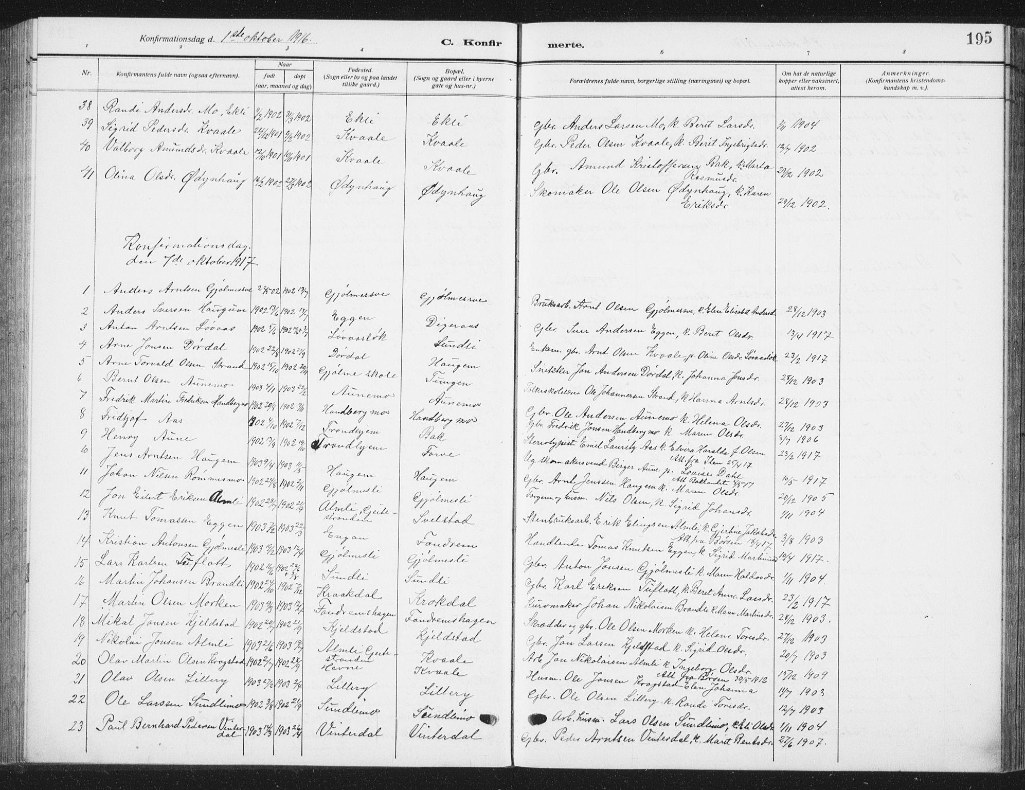 SAT, Ministerialprotokoller, klokkerbøker og fødselsregistre - Sør-Trøndelag, 668/L0820: Klokkerbok nr. 668C09, 1912-1936, s. 195