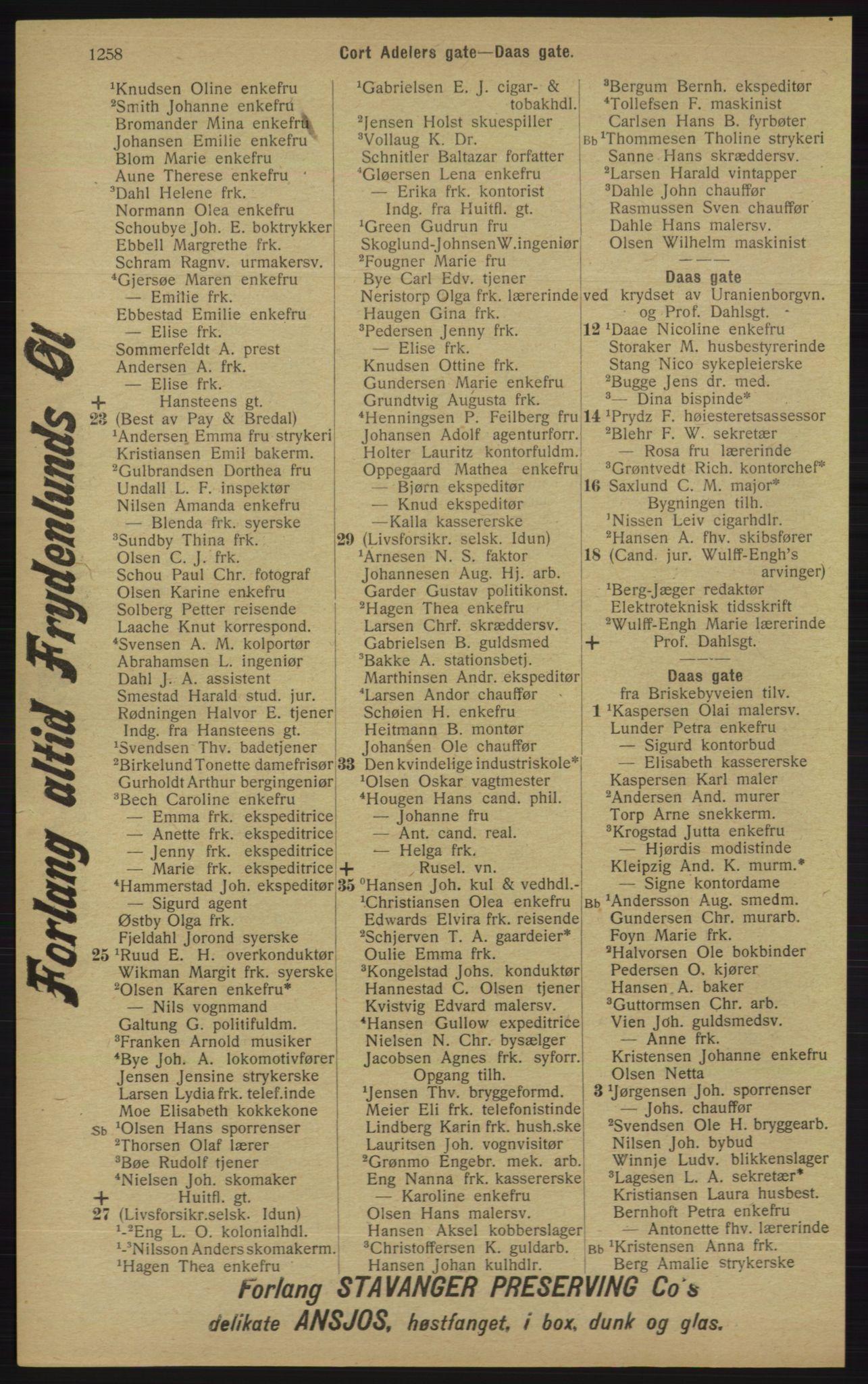 RA, Kristiania adressebok (publikasjon)*, 1913, s. 1258