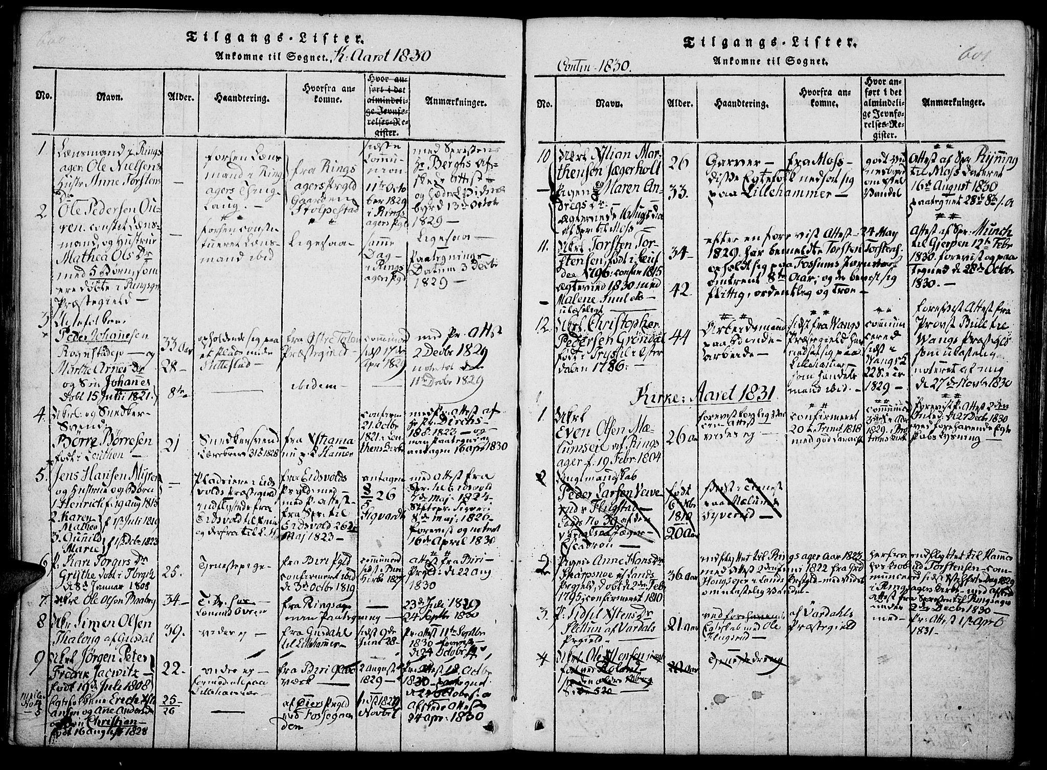 SAH, Fåberg prestekontor, Ministerialbok nr. 3, 1818-1833, s. 600-601